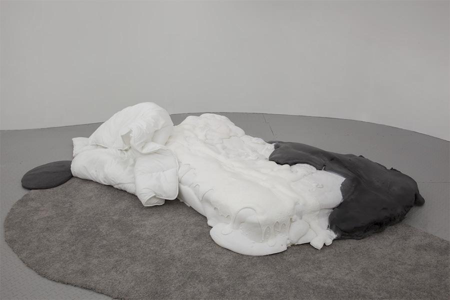 """100 Problems , 2017, Expanding foam, foam, duvet, 71"""" x 85"""" x 12"""""""