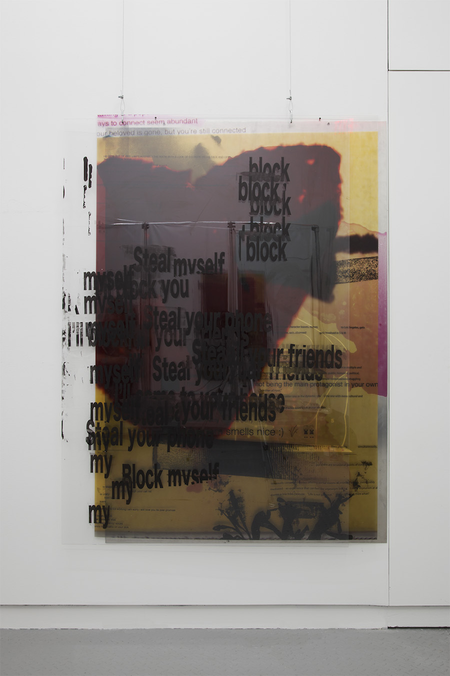 "Your Ass is Grass (And I'm Gonna Mow It) , 2017, Silkcreen on aluminum, digital print on perspex, silkscreen on plexiglass, 60"" x 72"""