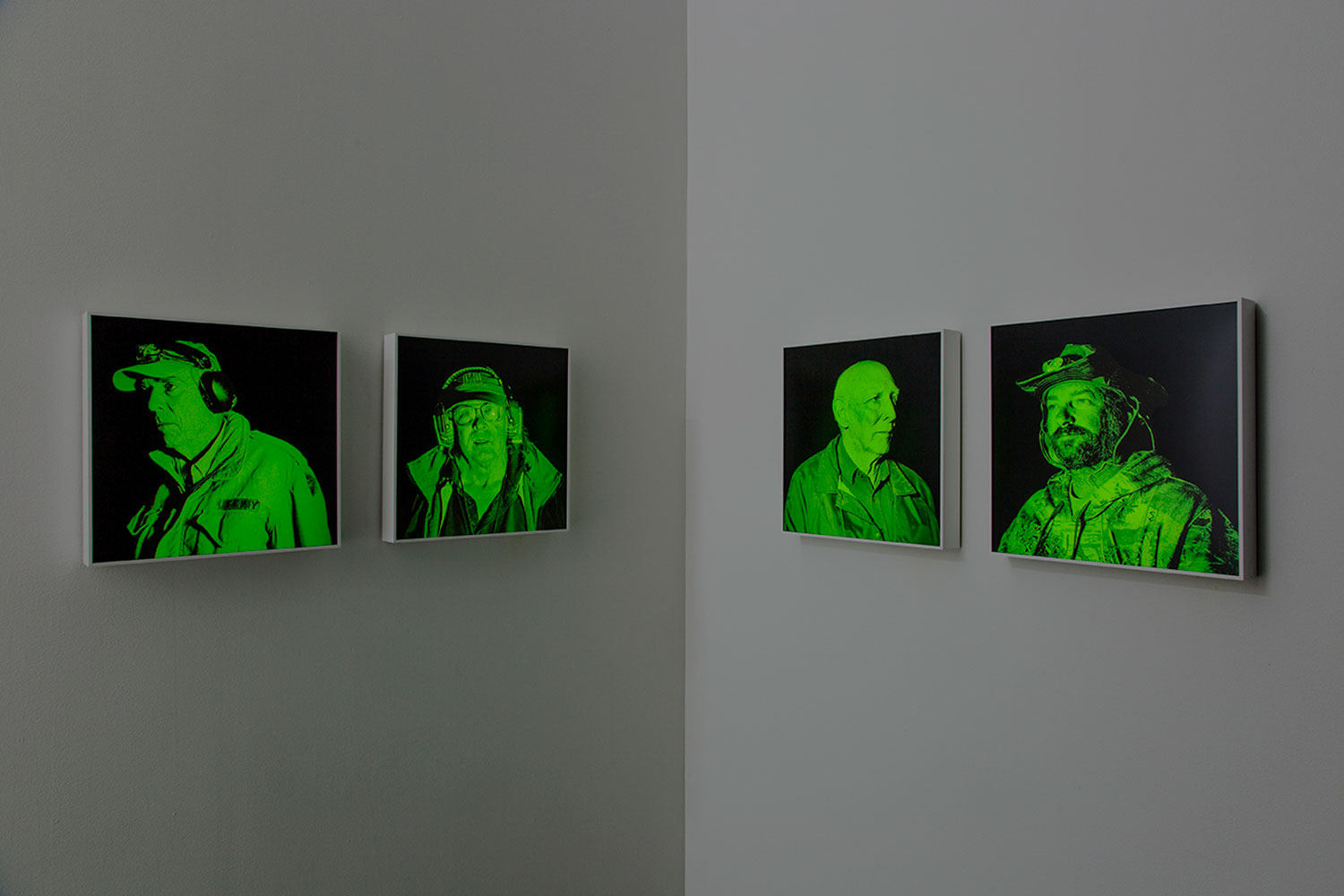 "Installation view,  Nightvision #1,#2, #3, #4 , 2019, Edition of 3, Duratrans lightbox, 16"" x 16"""