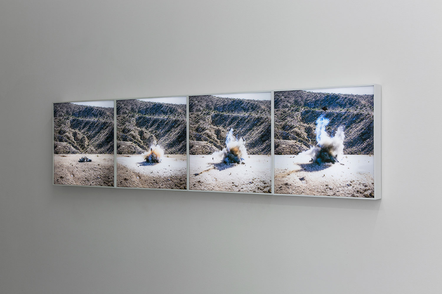 "Installation view,  Nitro , 2019, Edition of 3, Duratrans lightbox, 16"" x 16"""