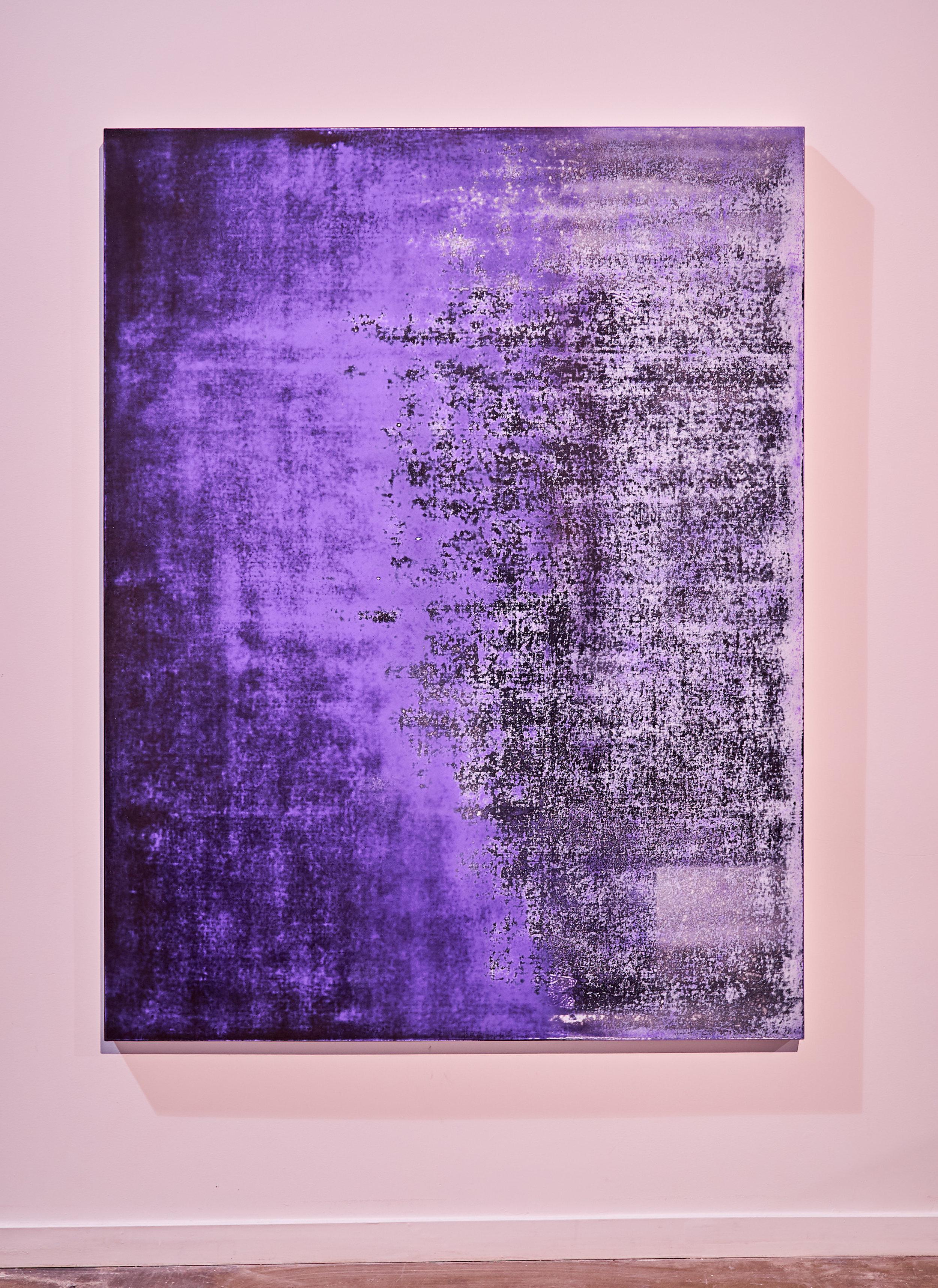 Nicolas Lachance ,    Carbazole (noir) , 2018, Lacquer and acrylic on canvas, 77′′ x 59′′ (195,6 x 149,9 cm)