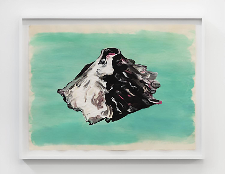 "Green Paper Volcano , 2016, Tempera on paper, 18"" x 23"""