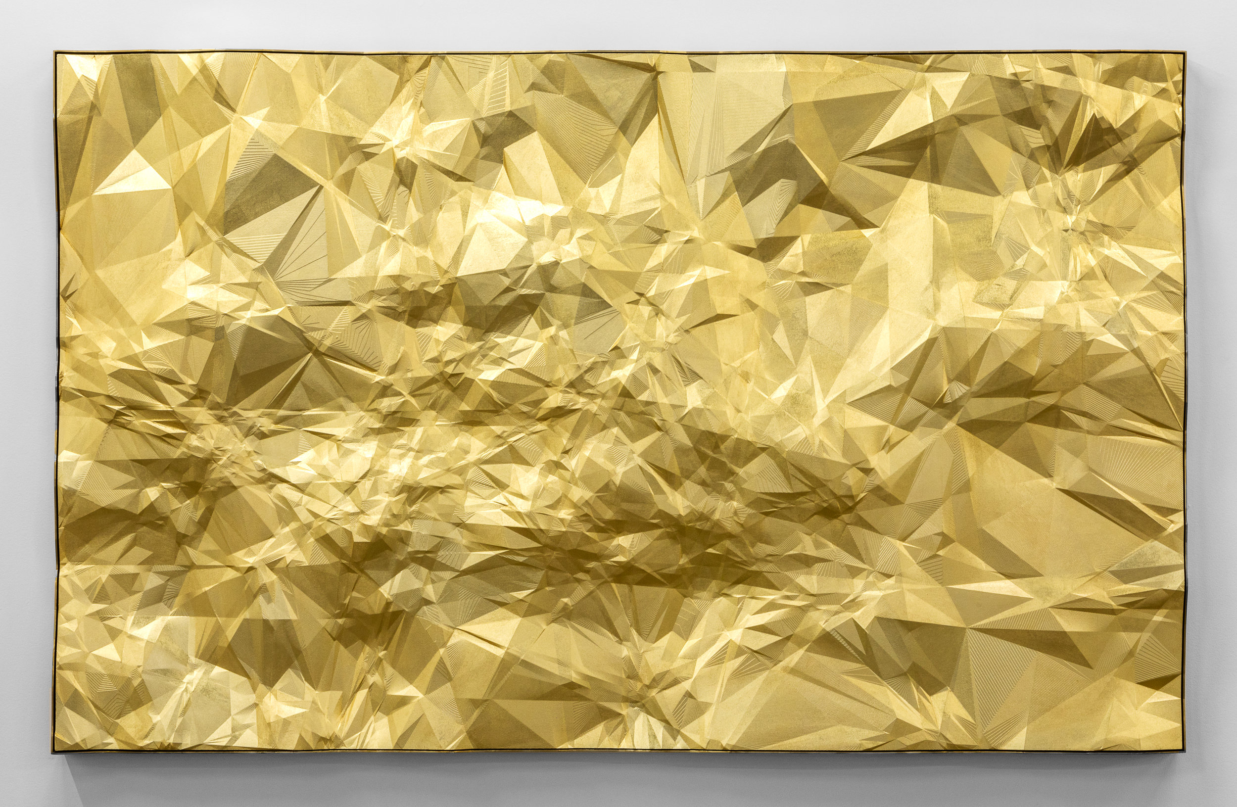 """Constellations Or 15 Lyn, 2017, Polylactic acid, golden paint, 42"""" x 68"""" (Detail)"""