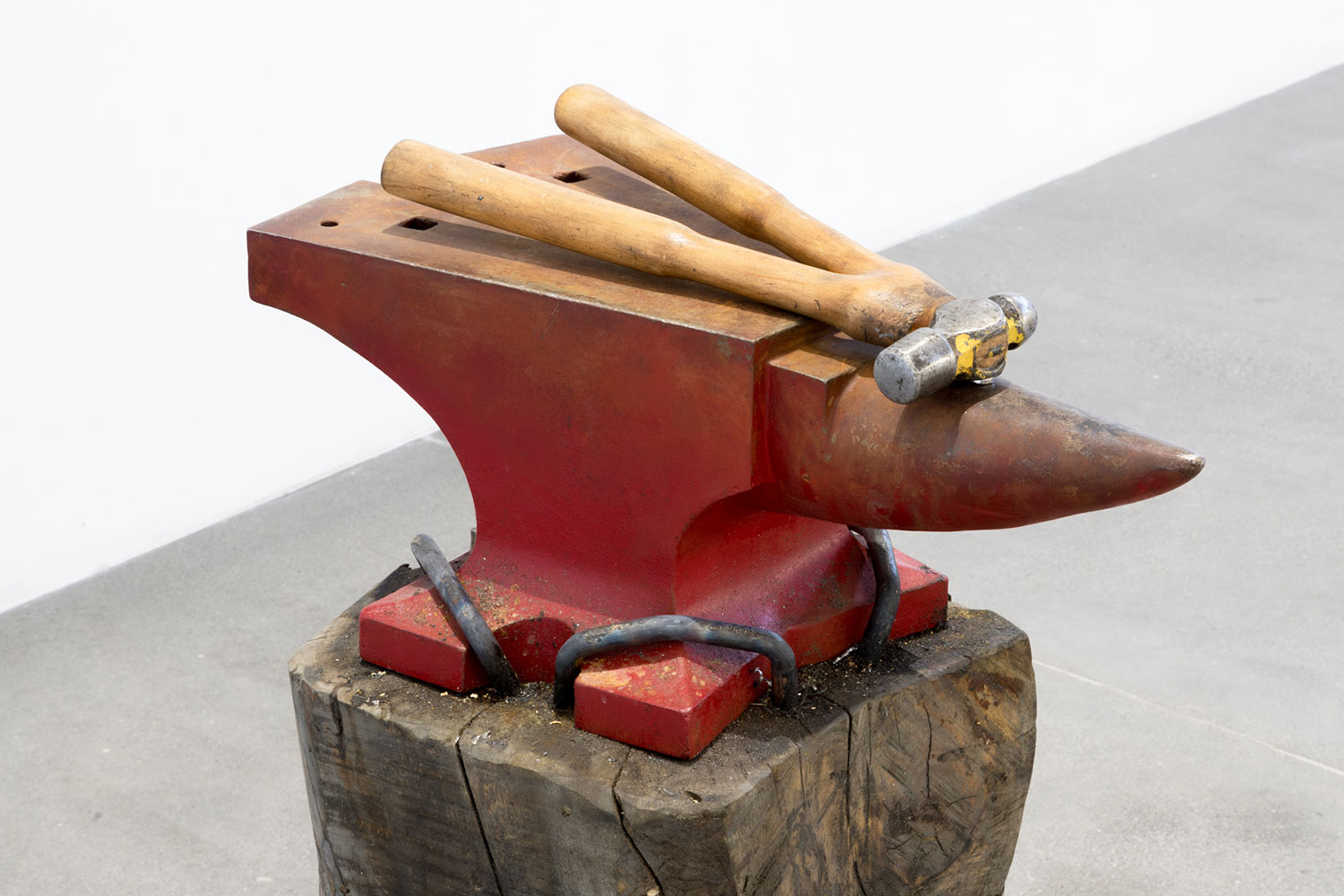 "Anvil Study #1 (The Question) , 2017, Steel, wood, hammerhead, paint, hardware, 10"" x 24"" x 34"""