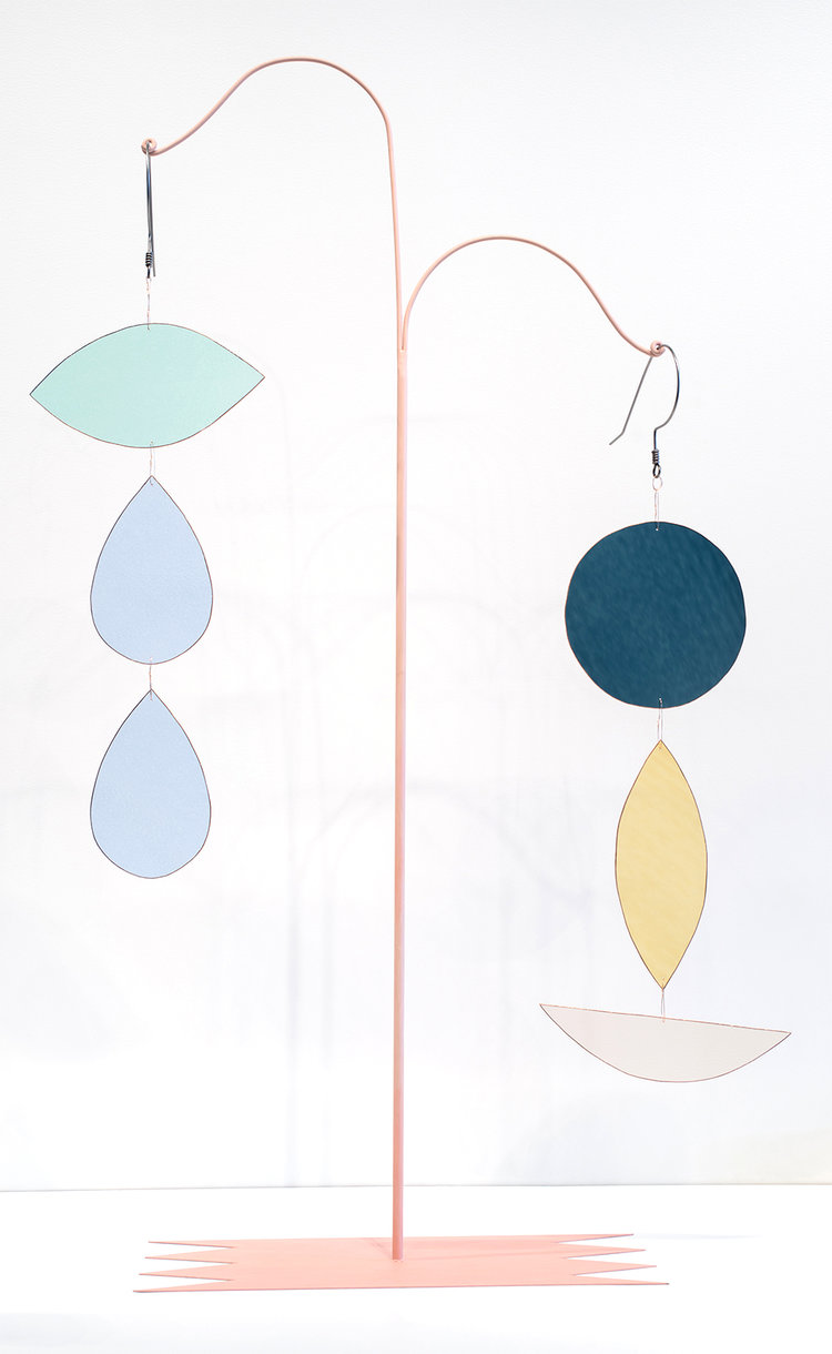 Vanessa Brown ,  Stained Glass Earring + Stand , 2018, Steel, stained glass, oil paint, copper foil, copper wire