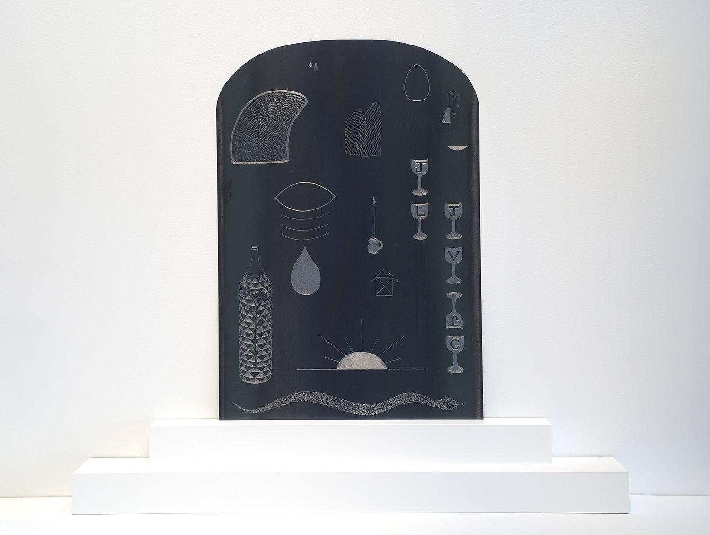 Vanessa Brown ,  Engraving Board , 2018, Steel, MDF