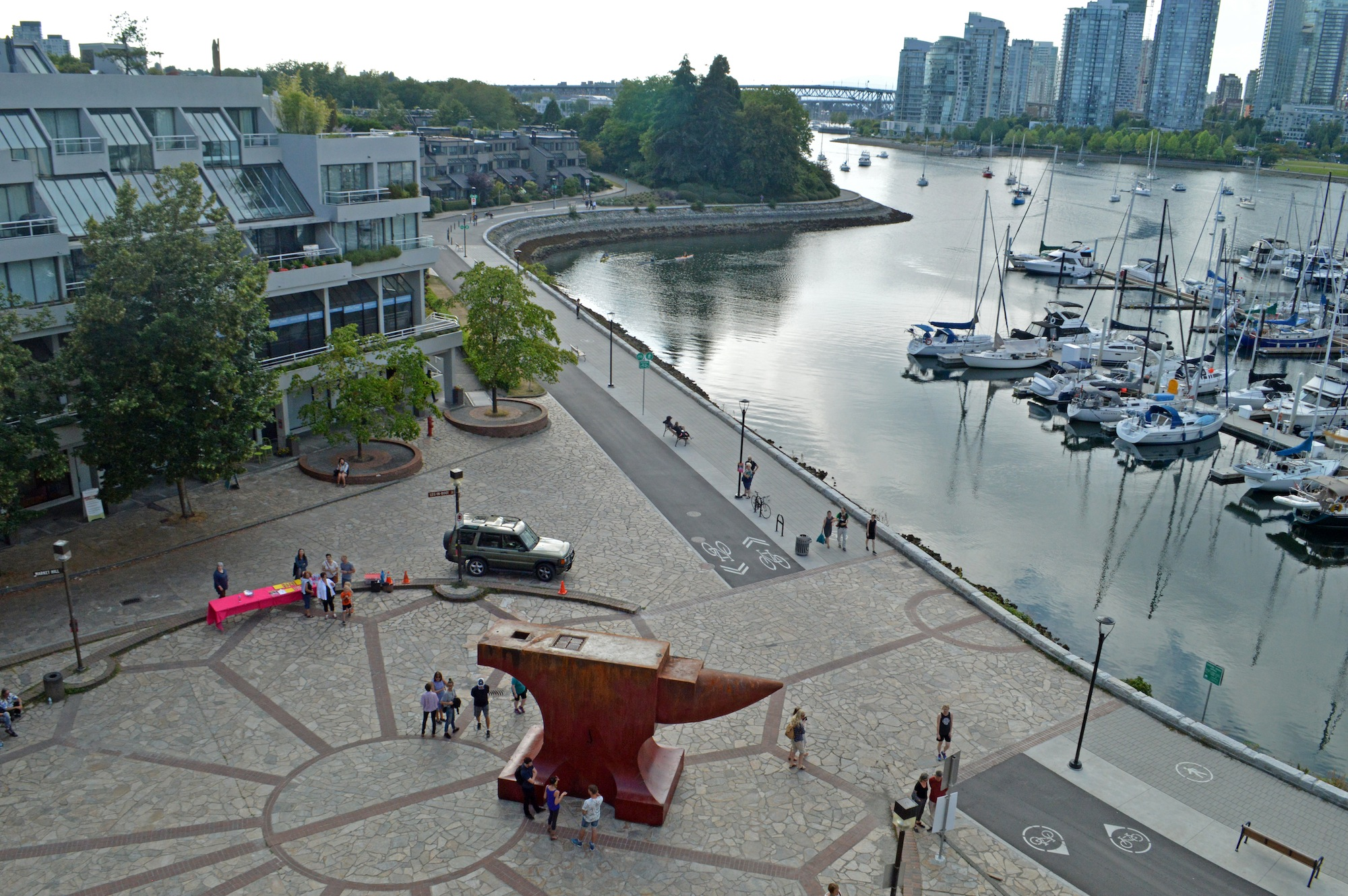 Maskull Lasserre ,  Acoustic Anvil (A Small Weight to Forge the Sea)  and False Creek, Vancouver, BC, 2018, Steel, electronics, solar panels, 25 x 13 x 9 feet, Image courtesy of Maskull Lasserre