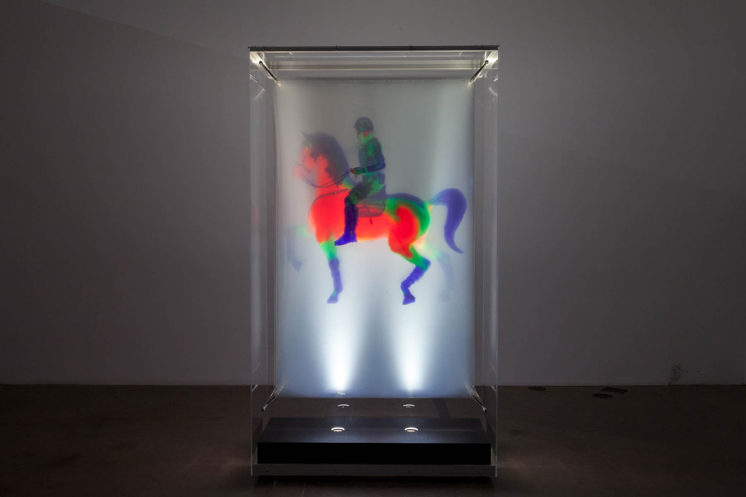 """Regisole , 2016, Edition of 4, 33 layers of printed film in lit display case, 81"""" x 46"""" x 22"""""""