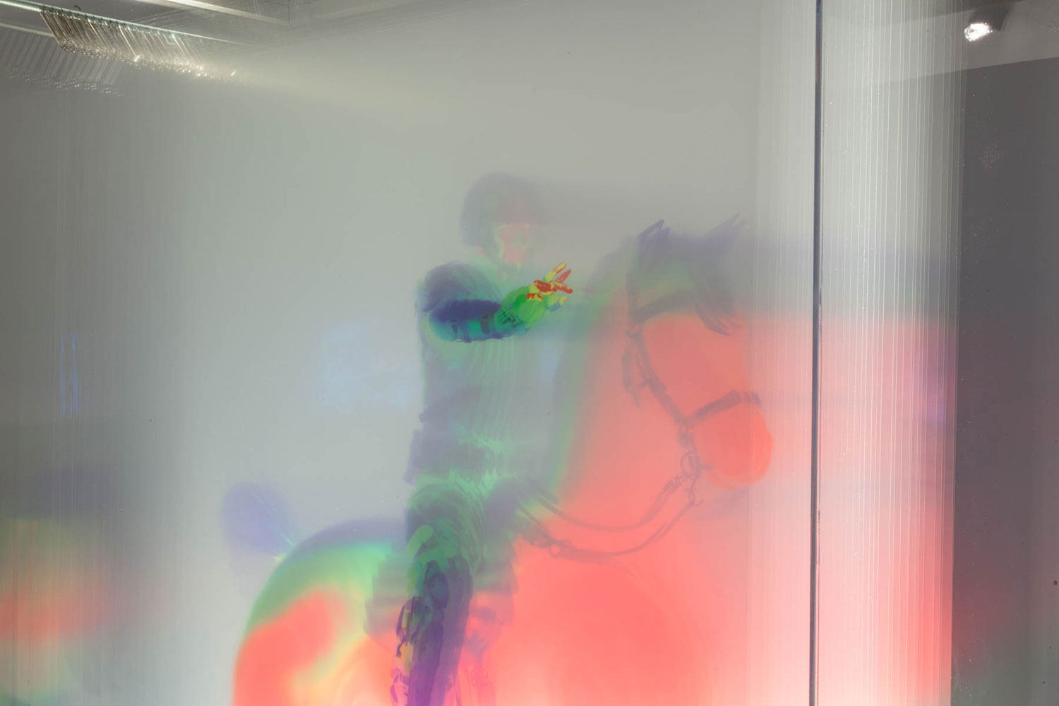 """Regisole , 2016, Edition of 4, 33 layers of printed film in lit display case, 81"""" x 46"""" x 22"""" (Detail)"""