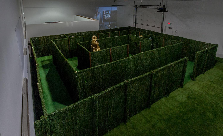 Sculpture Garden, Oculus Rift , 2015, Fiberglass, gold leaf, artificial hedge maze structure, virtual reality headset, computer file