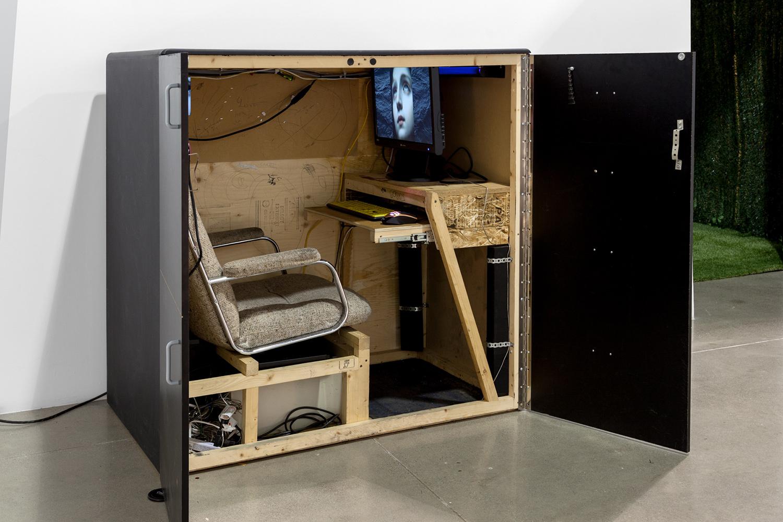 "Cockpit , 2014, Wood, chair, screen, 49"" x 49"" x 30"""