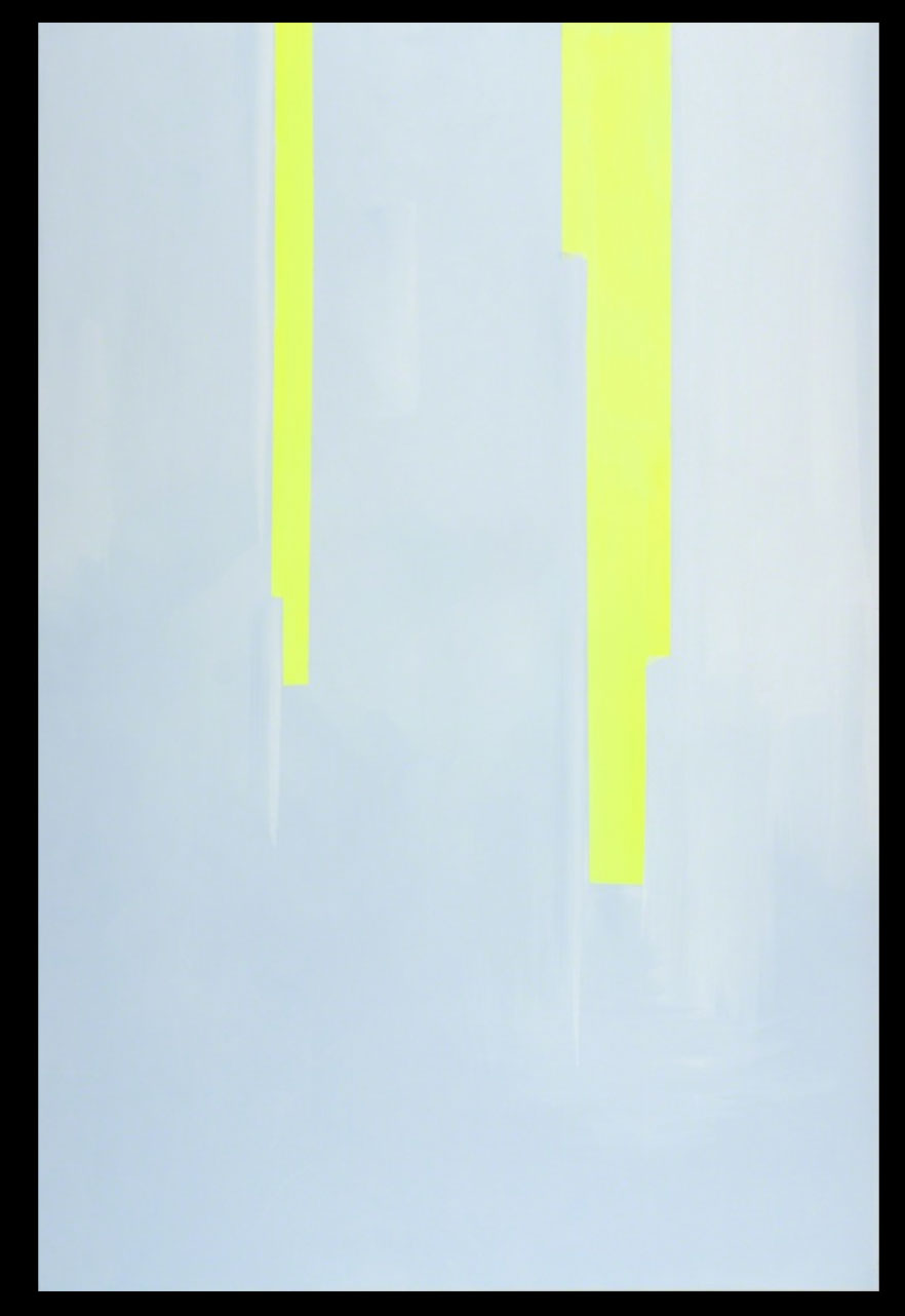 "In Absentia (Luminous Yellow - Pale Blue Mauve) , 2016, Acrylic on canvas on stretcher, 72"" × 48"""