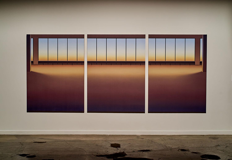 """Pierre Dorion ,  Vitrines (5445 de Gaspé) , 2017, Oil on linen canvas, 72"""" x 170 1/4"""" (183 x 432)"""