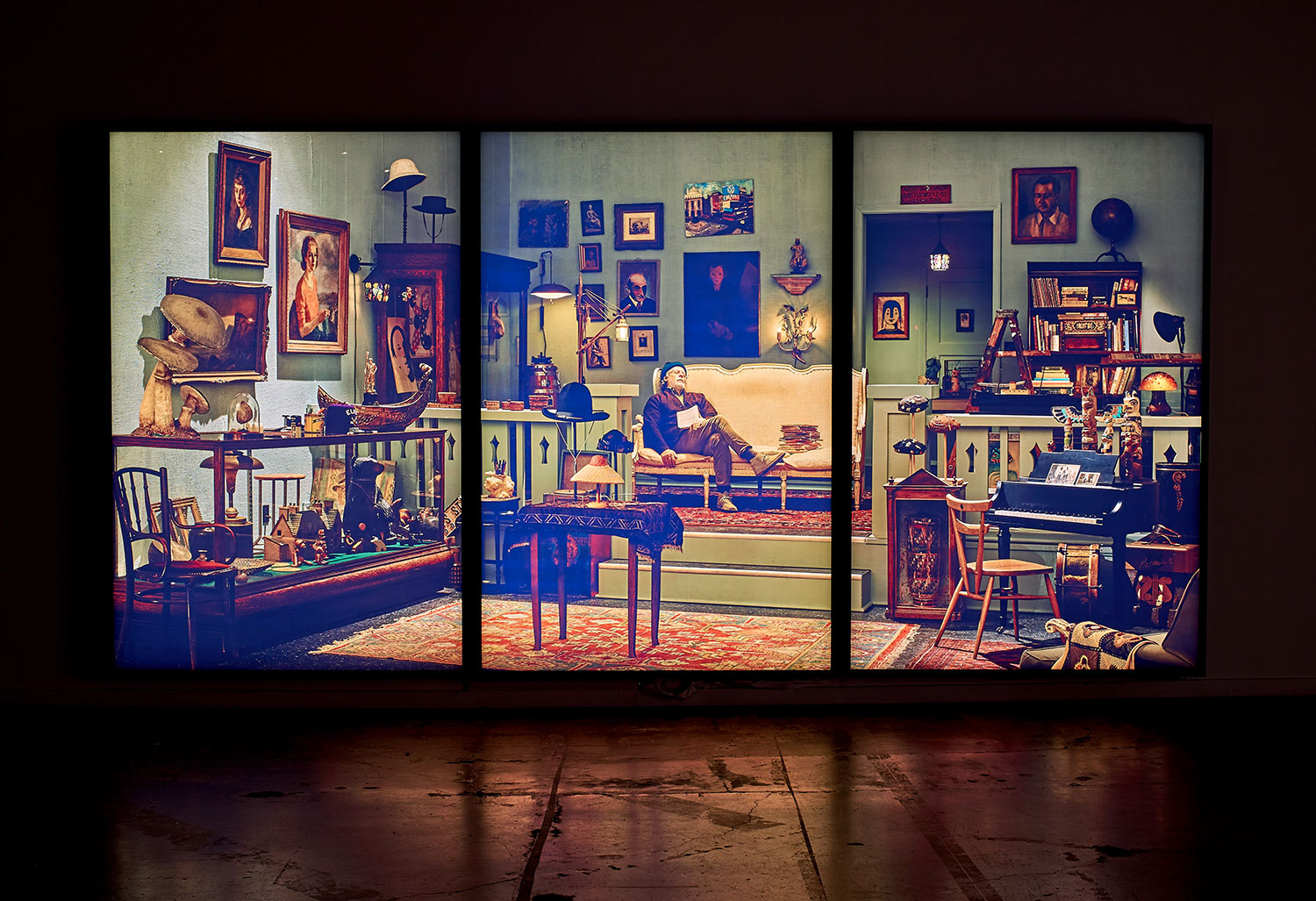 """Rodney Graham ,  Antiquarian Sleeping in his Shop , 2017, 3 painted aluminium light boxes with transmuted chromogenic transparencies, 108 5/8"""" x 218 3/4"""" x 7"""" (275,9 x 555,6 x 17,8 cm)"""