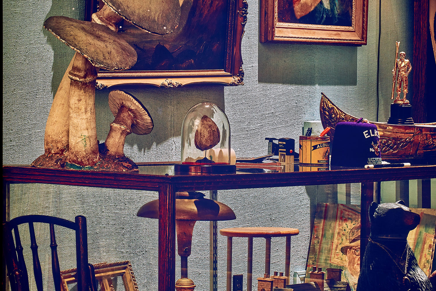 """Rodney Graham ,  Antiquarian Sleeping in his Shop , 2017, 3 painted aluminium light boxes with transmuted chromogenic transparencies, 108 5/8"""" x 218 3/4"""" x 7"""" (275,9 x 555,6 x 17,8 cm) (Detail)"""