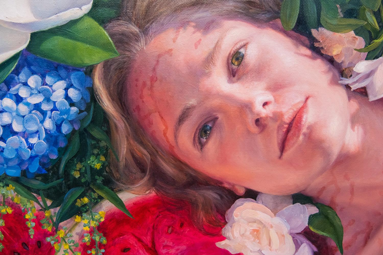 "Alonsa Guevara ,  Herencia , 2018, Oil on canvas, 48"" x 48"" (121,9 x 121,9 cm) (Detail)"