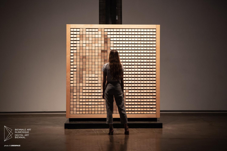 "Daniel Rozin ,  Wooden Mirror , 2014, Interactive installation, 94 1/2"" x 39 1/5"" x 55 9/10"" (240 x 97 x 142 cm)"