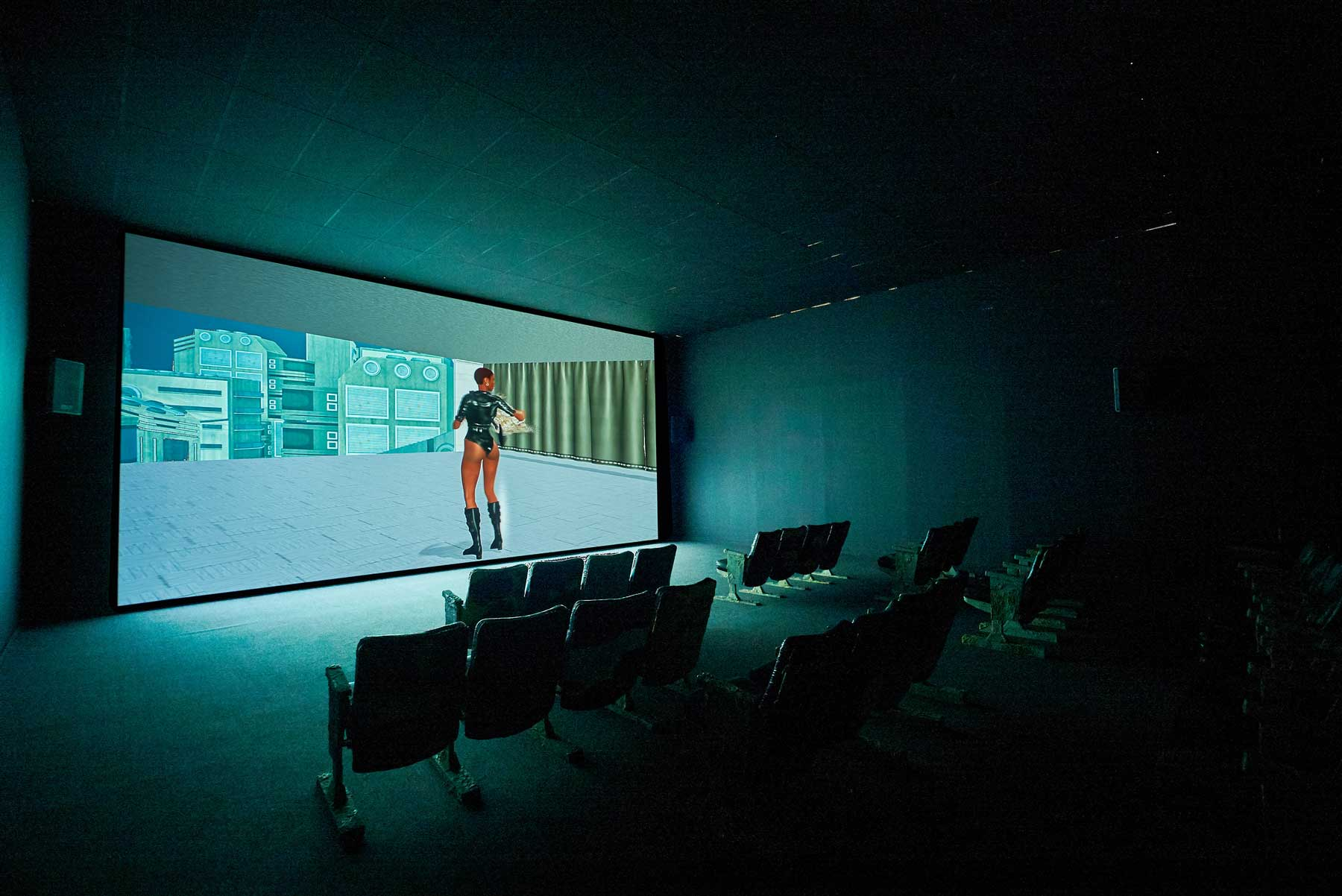 Jon Rafman ,    Dream Journal 2016 - 2017 , 2017, Single channel video, 32 theatre chairs, foam, resin, acrylic, wood, music by Oneohtrix Point Never and James Ferraro