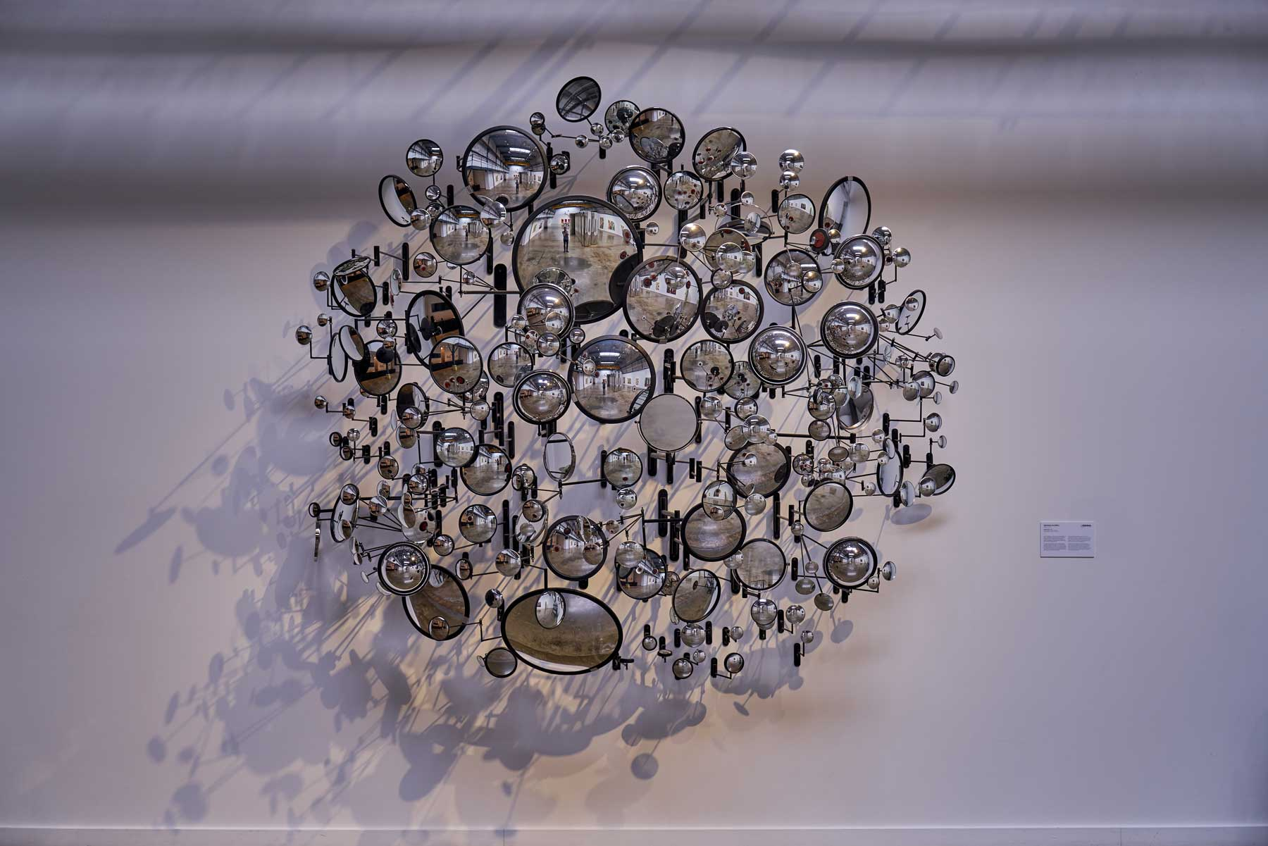 """Graham Caldwell ,  Compound Eye , 2008, Mirrors and steel hardware, 92"""" x 98"""" x 50"""" (234 x 249 x 127 cm)"""