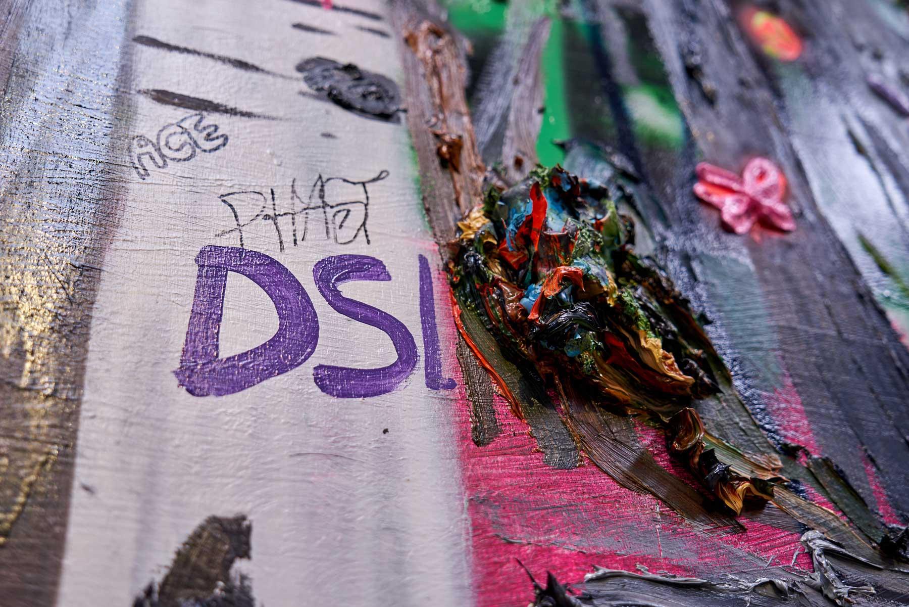 "Kim Dorland ,  Fuck Love , 2008, Mixed media on board, 72"" x 96"" (183 x 244 cm) (Detail)"