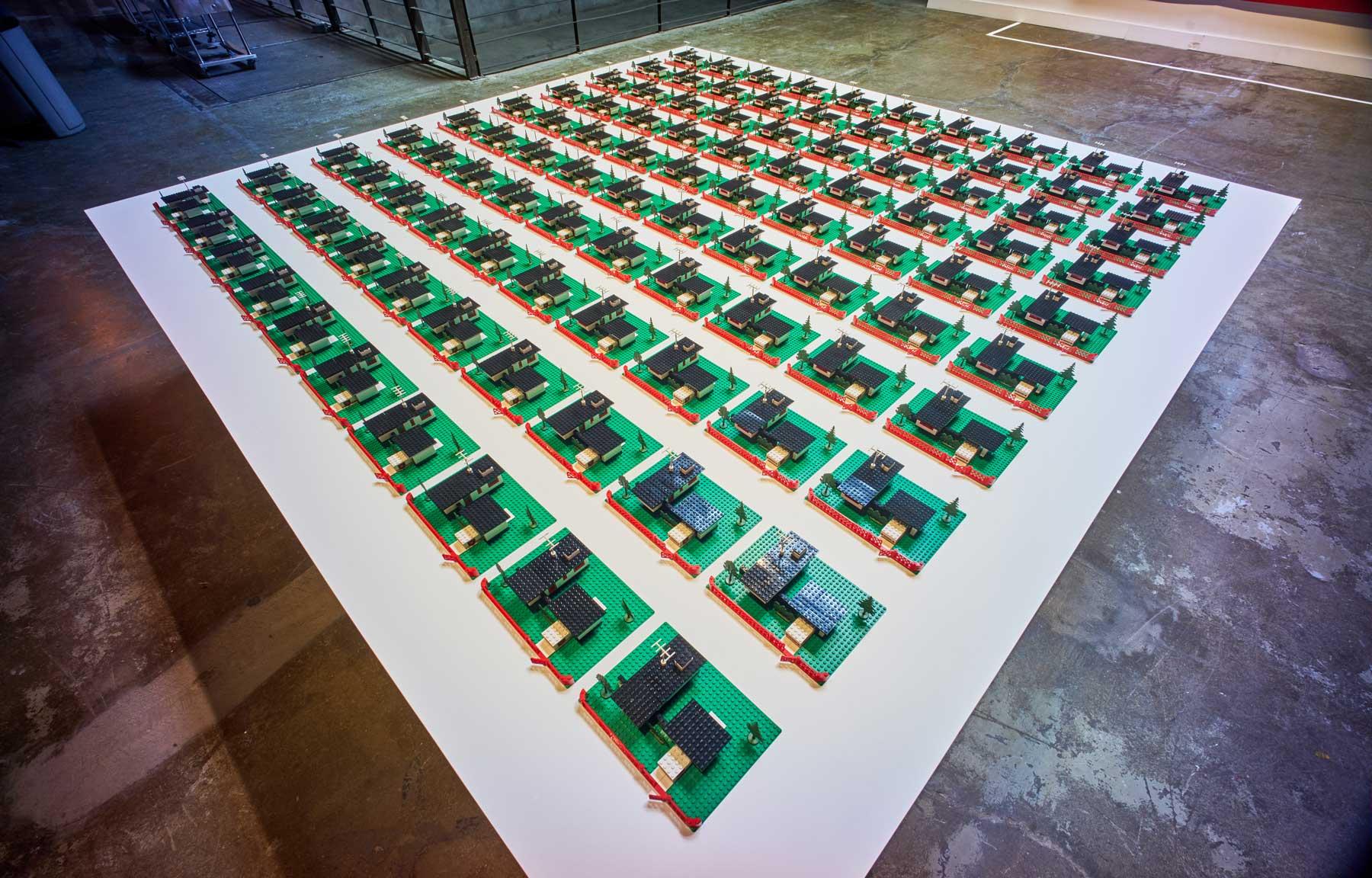 "Douglas Coupland ,  345 Modern Houses , 2014, Lego, resin, 4"" x 120"" x 90"" (10,16 x 304,8 x 228,6 cm). Photo credit: Romain Guilbault"
