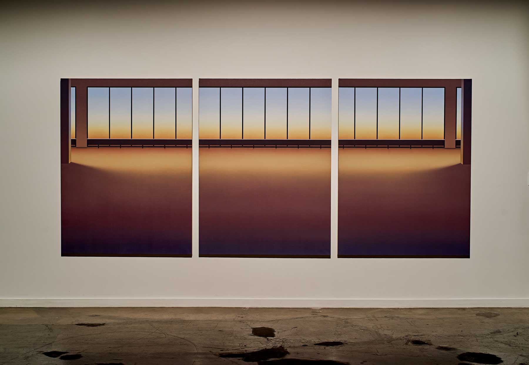 "Pierre Dorion ,  Vitrines (5445 de Gaspé) , 2017, Oil on linen canvas, 72"" x 170 1/4"" (182,88 x 432,44 cm). Photo credit: Romain Guilbault"