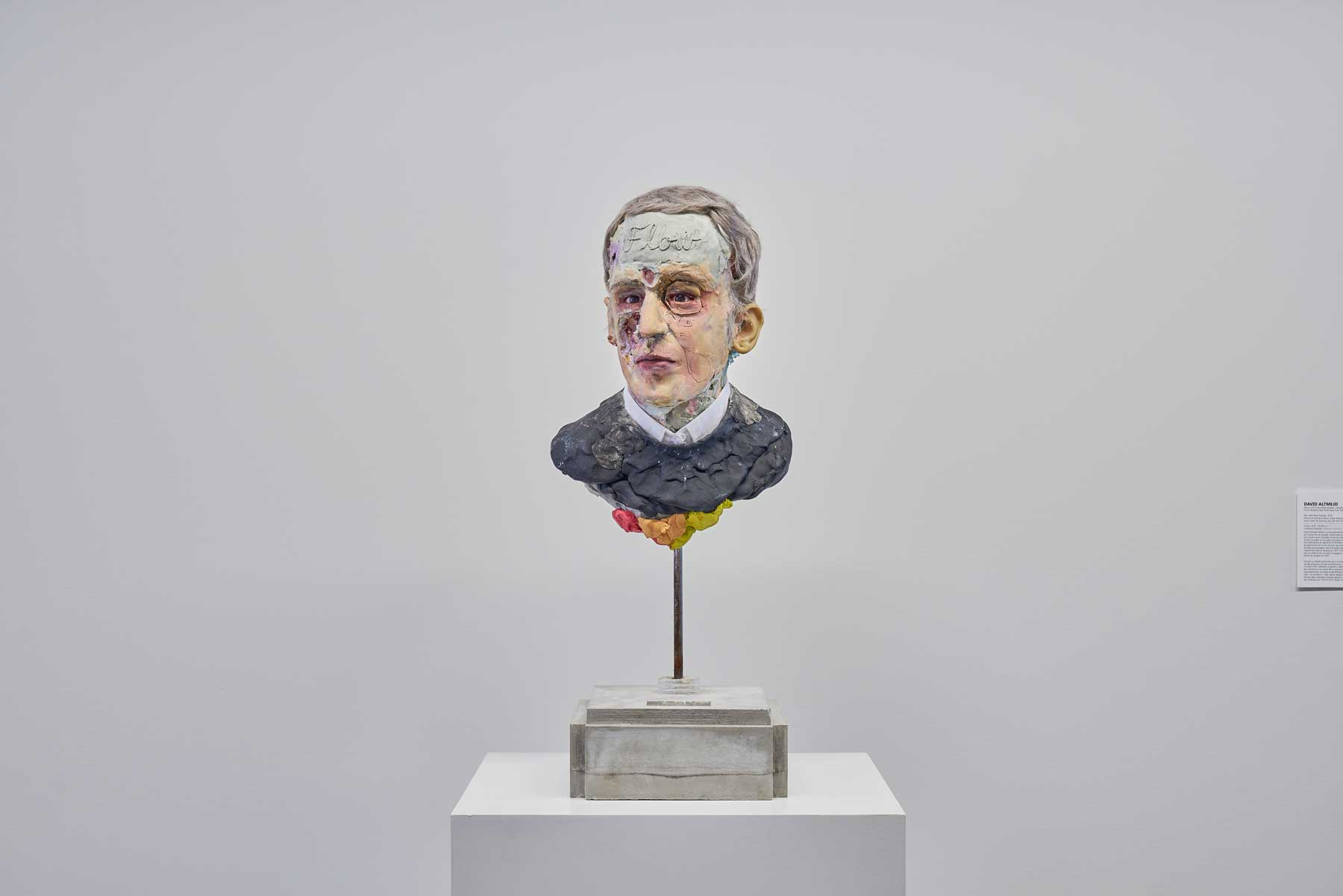"David Altmejd ,  Man with Black Sweater , 2018, Urethane foam, concrete, epoxy clay, resin, epoxy gel, syntheric hair, steel, acrylic paint, quartz, graphite, glass paint, shir collar, glass eyes, copper wire bead, rhinestone, MSA varnish, 29"" x 10 ½"" x 12"" (73,7 x 26,7 x 30,5 cm)"