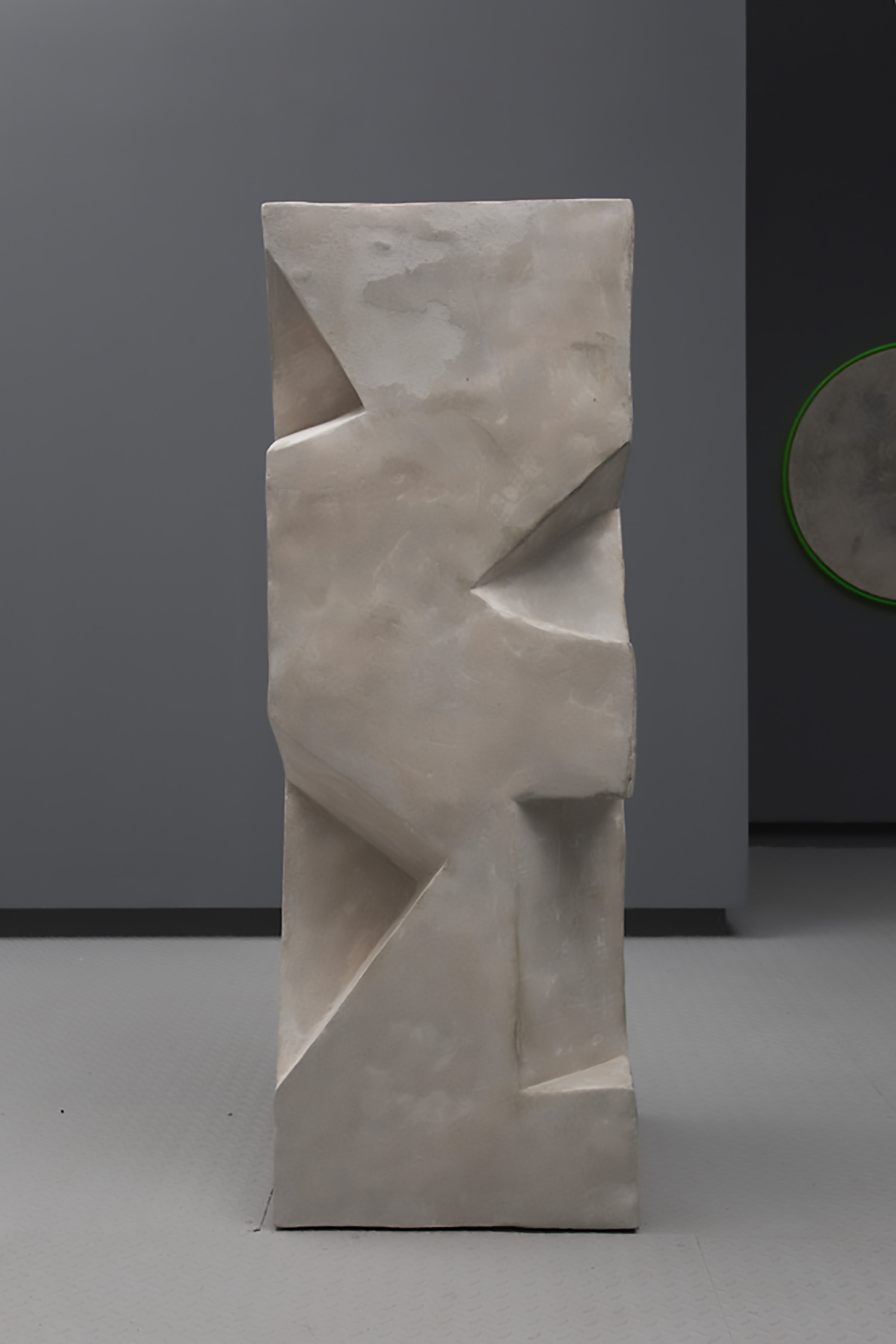 "Caroline Monnet ,    Silent as Stone can be , 2019, Concrete, foam, acrylic, 68 ¼"" x 24"" x 25"""