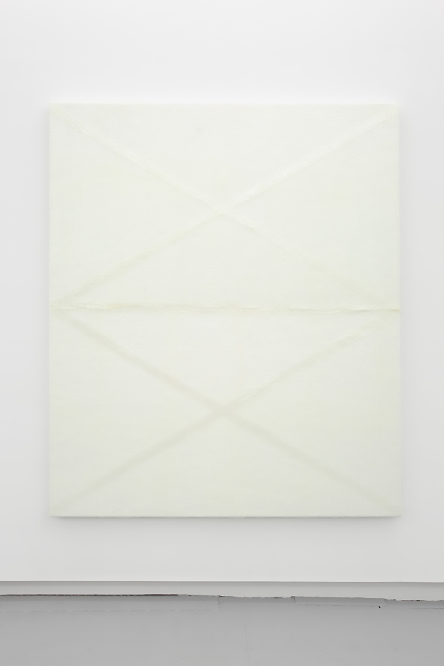 White Monochrome with Bubble Wrap and Packing Tape , 2017, Acrylic on canvas, 60'' x 86'' x 1 ½''