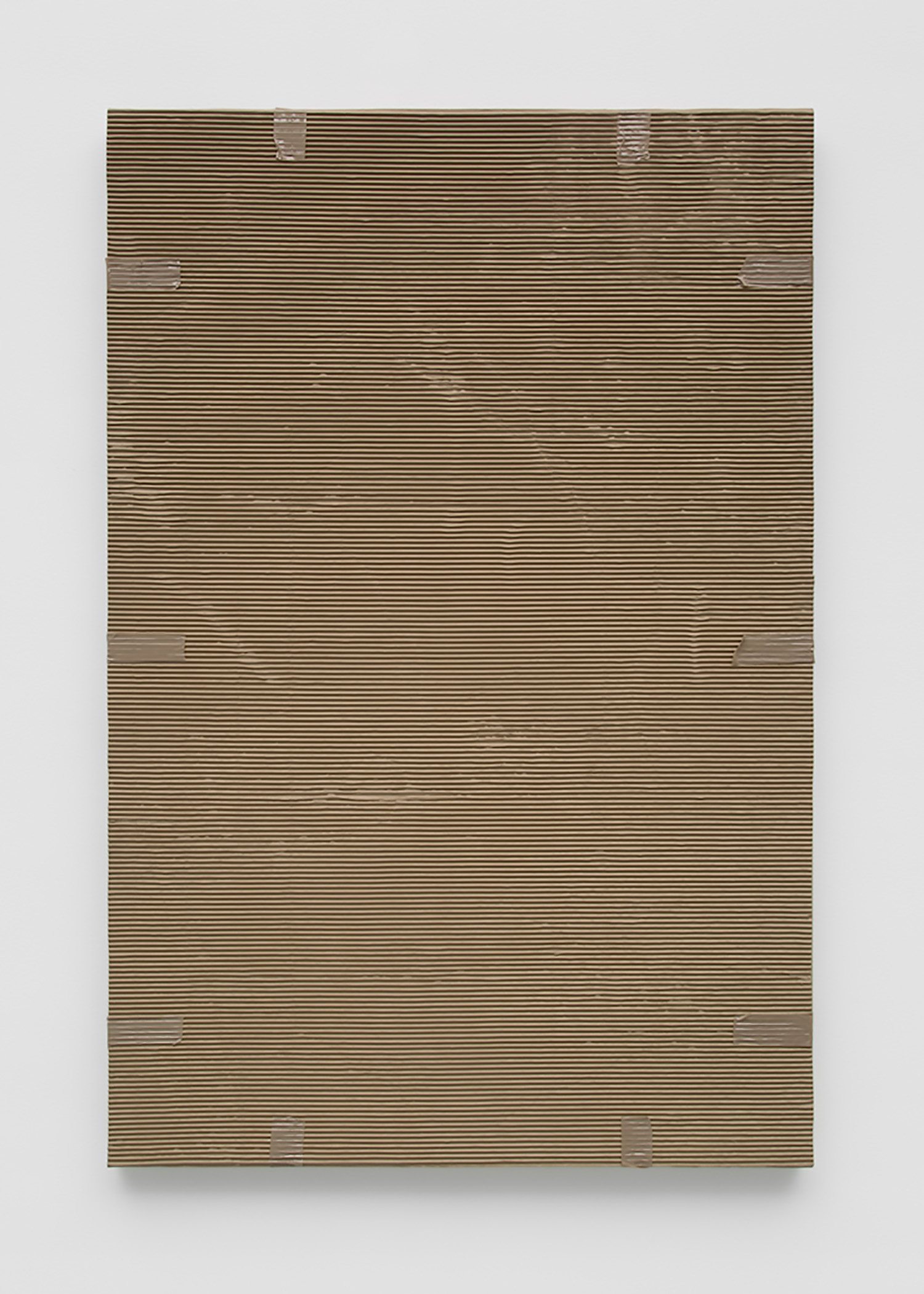 """Monochrome with Corrugated Cardboard, and Tan Packing Tape , 2016, Acrylic on linen, 60'' x 40'' x 1 ½"""""""