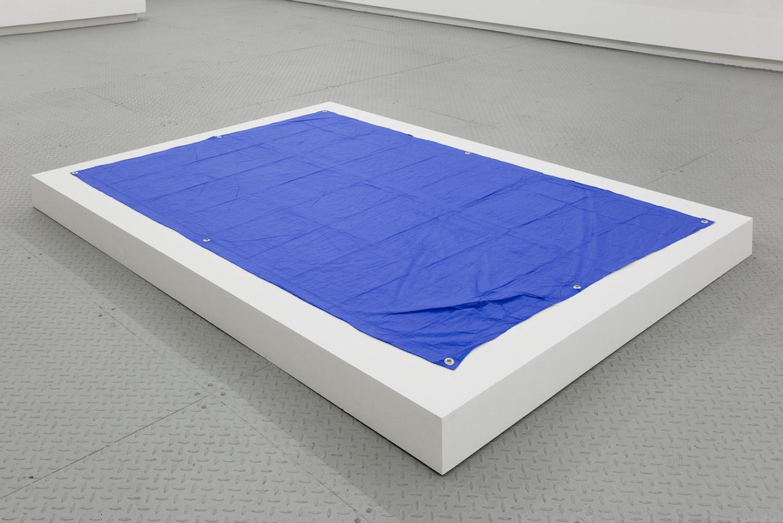 "Tarpaulin (International poly-Tarp Blue) , 2019, Acrylic paint, grommets, 57"" x 85"" x 1"""