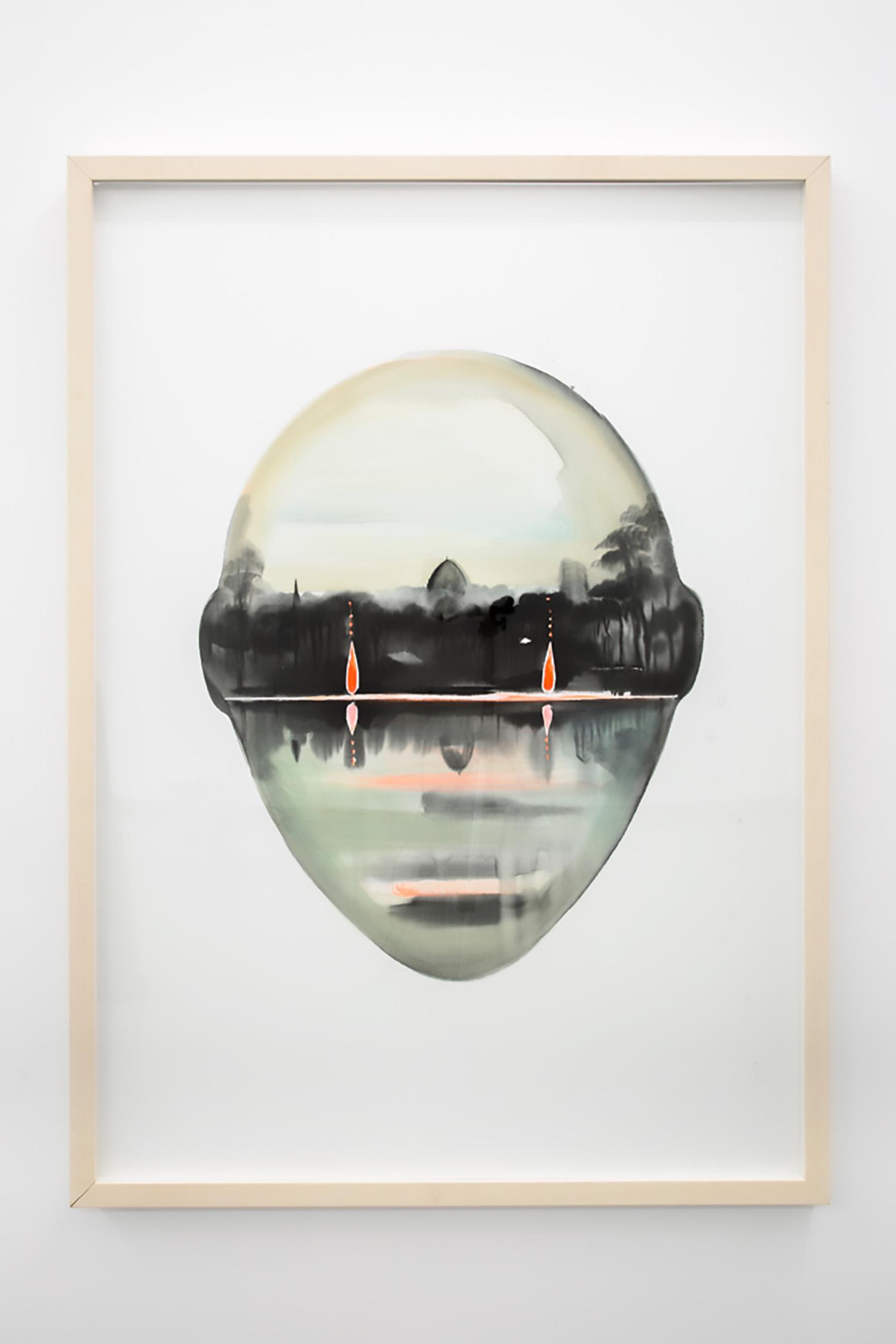 "Wanda Koop,   Untitled (View From Here Series) , 2015, Inkjet print on paper, gouache, 53 ¾"" x 40"""