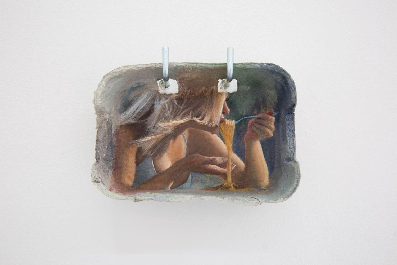 "Louise Sartor ,  Bolo , 2017, Gouache on egg box, 6 ½"" x 1 ½"" x 4 ½"", Courtesy of Galerie Crèvecoeur"