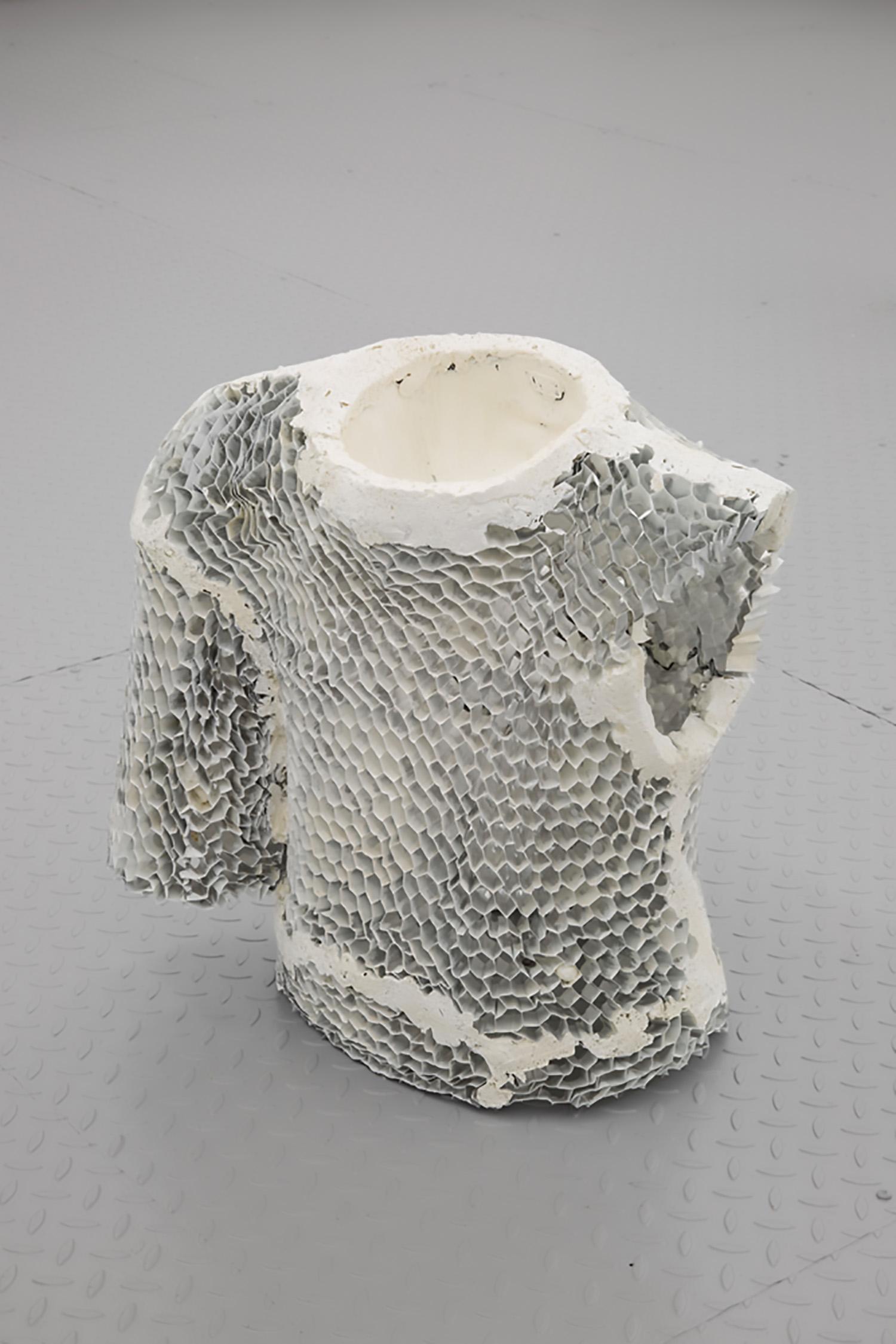"Piotr Łakomy,   Untitled , 2016, Aluminium honeycomb, fabric (cap), insulation foam, paint, 22"" x 24"" x 12"", Courtesy of galeria stereo"