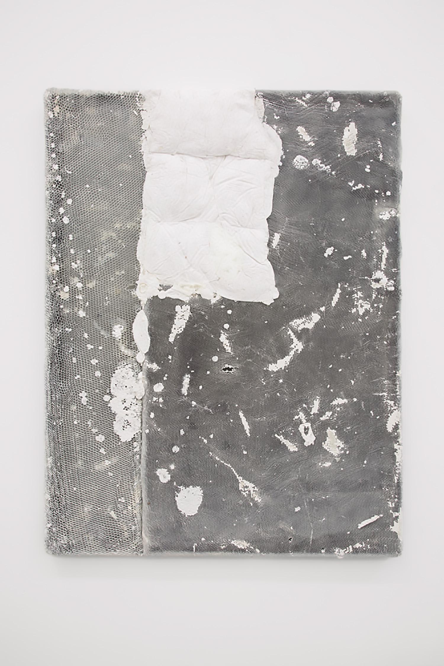 "Piotr Łakomy ,  Untitled (Winter Feet) , 2016 ,  Aluminium honeycomb, jacket (tyvek, feathers), insulation foam ,  44"" x 32"", Courtesy of galeria stereo"