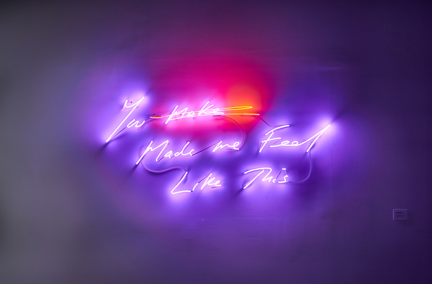 """Tracey Emin ,  You Made Me Feel Like This , 2018, Ed. 1/3, Neon (magenta and light red), 28 1/8"""" x 65 5/8"""" (71,4 x 166,7 cm). Photo credit: Romain Guilbault"""