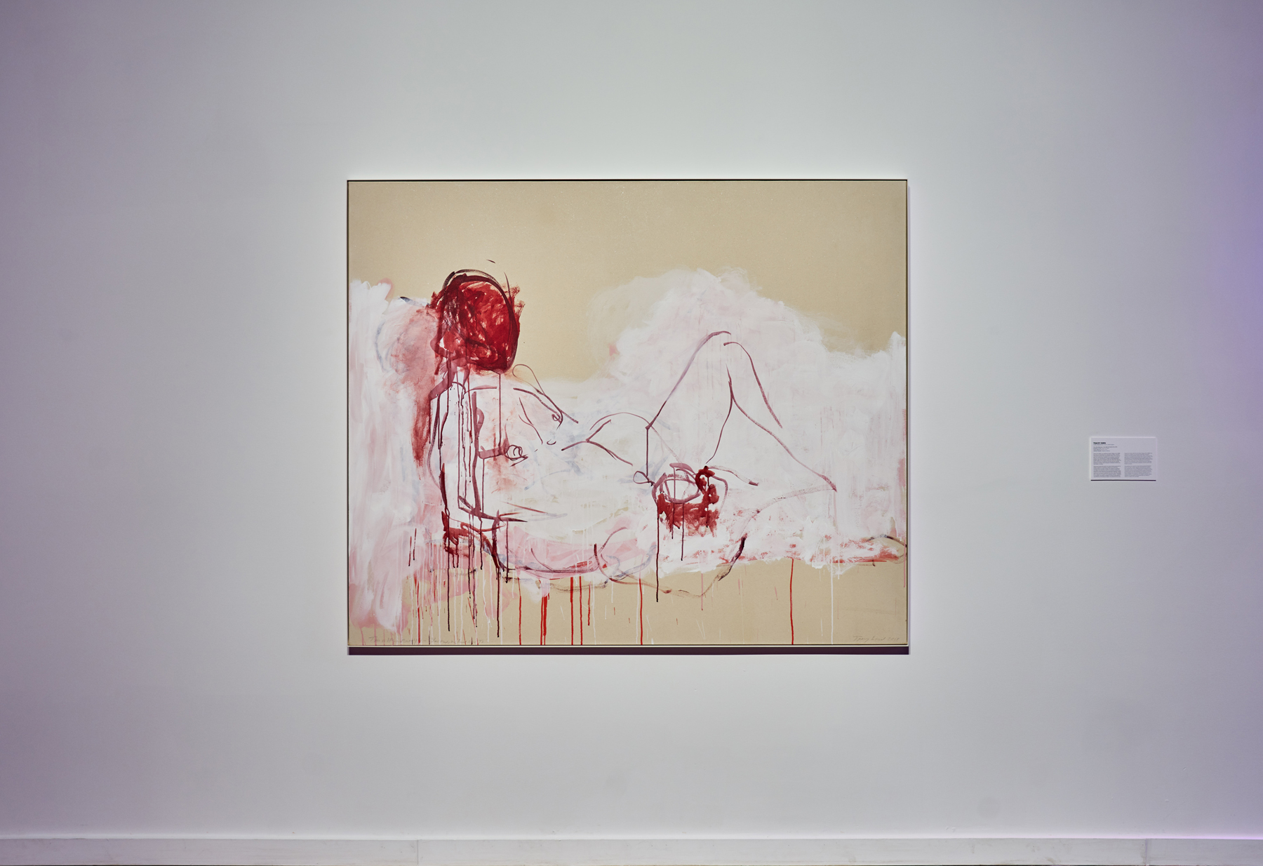 """Tracey Emin ,  This is life without you - You made me Feel like This , 2018, Acrylic on canvas, 59 3/4"""" x 72"""" (151,8 x 182,9 cm). Photo credit: Romain Guilbault"""