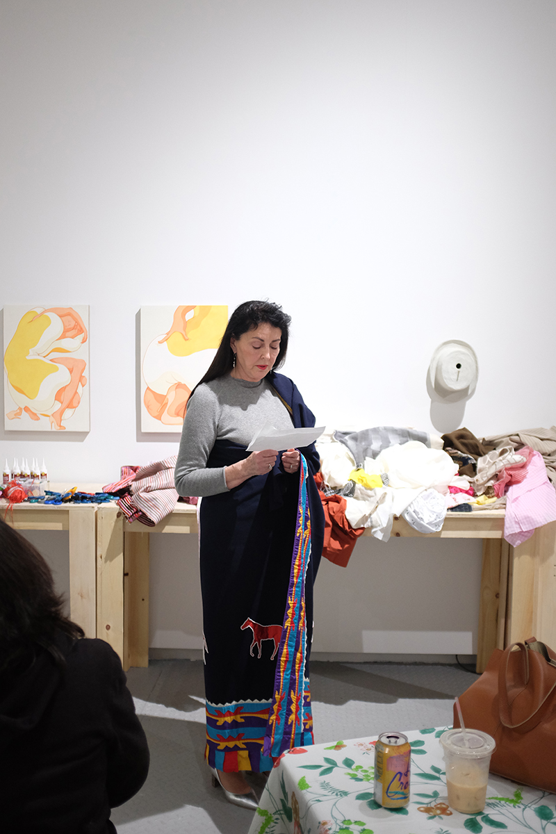 Diane Fraher ,  Pulling Threads with Amerinda Inc. & Spiderwoman Theatre , A performance as part of Eye to Eye, Arsenal Contemporary NY, 2018