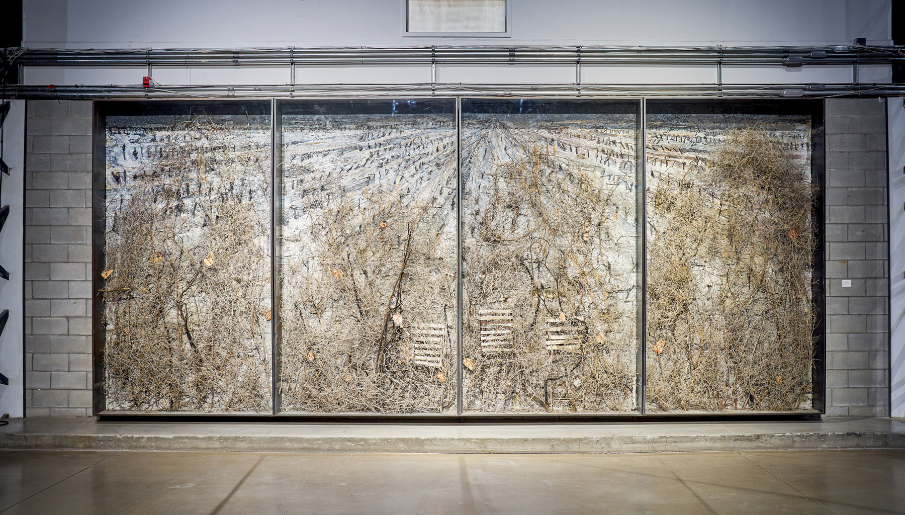 """Anselm Kiefer ,  Der Brennende Dornbusch , 2007, Mixed media on board, lead and glass, 130 5/8"""" x 302 ½"""" (332 x 768 cm). Photo credit: Romain Guilbault"""