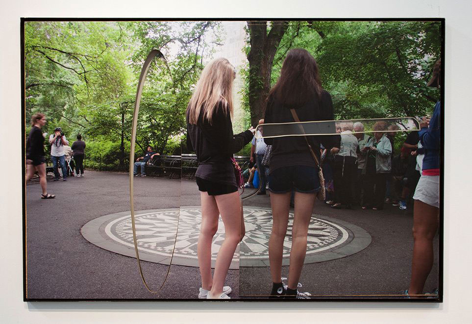 Rose Marcus ,  Central Park (Imagine with girls) , 2015, Inkjet on adhesive vinyl, plywood, plexiglass, rubber, iron frame. Image courtesy of Night Gallery