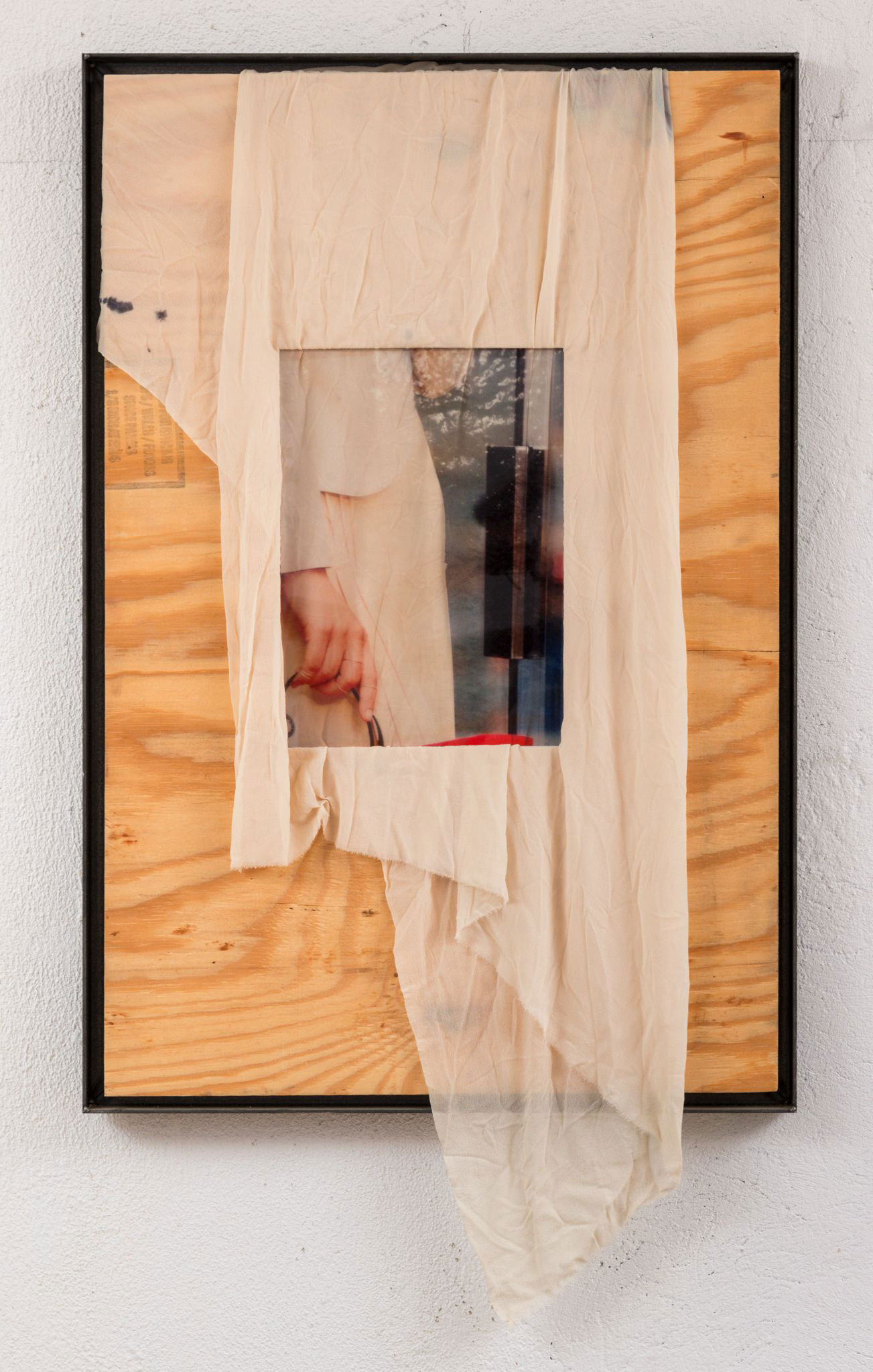 Rose Marcus ,  Woman (woman),  2015, Inkjet on plexiglass, BC plywood, silk chiffon, ink, iron frame. Image courtesy of Night Gallery