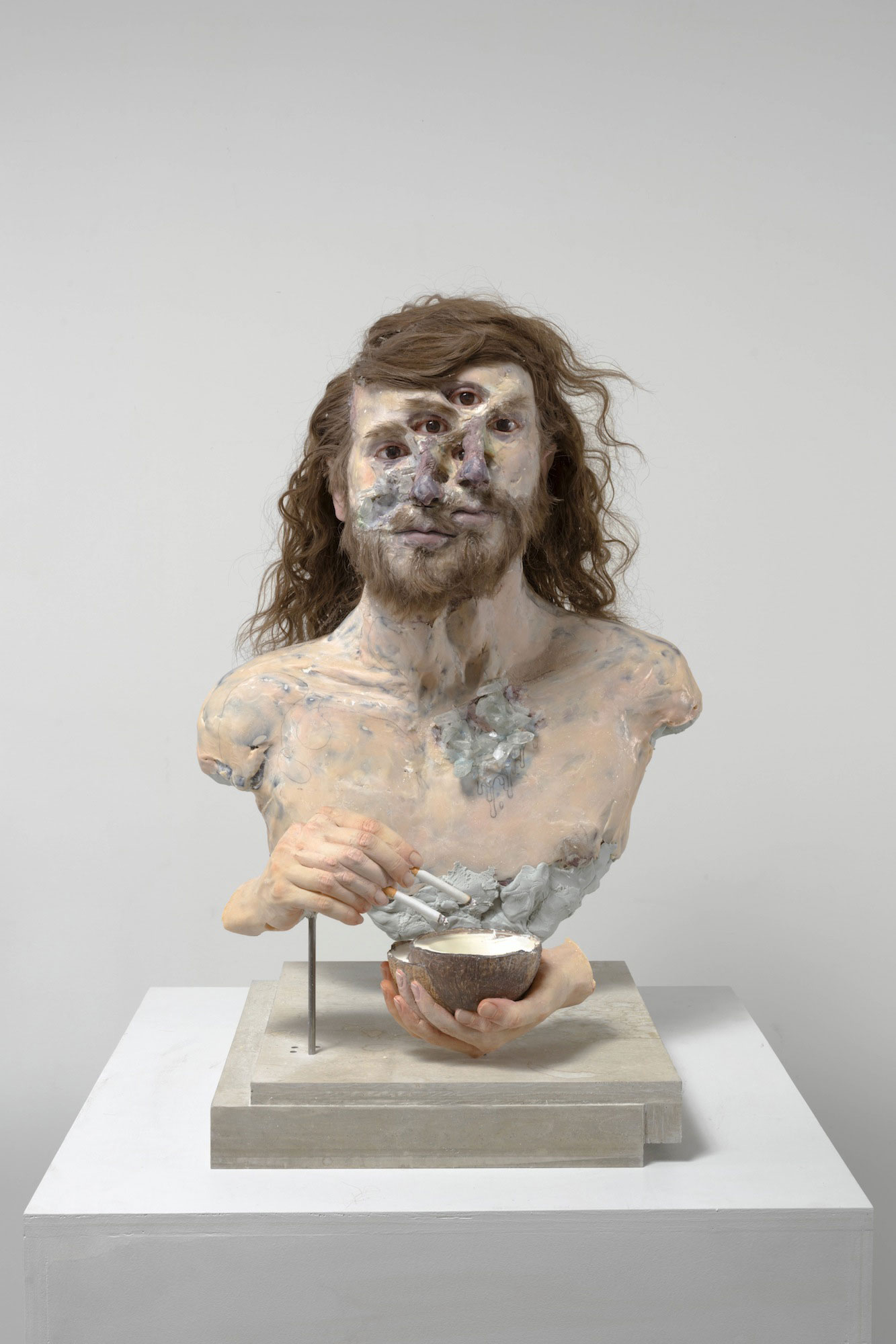 David Altmejd ,  Crystal System , 2019, Expanded polyurethane foam, resin, epoxy clay, epoxy gel, synthetic hair, acrylic paint, quartz, steel, coconut shell, glass eyes, paper, graphite, pearl mica flake and glass gemstone. Image courtesy of David Altmejd