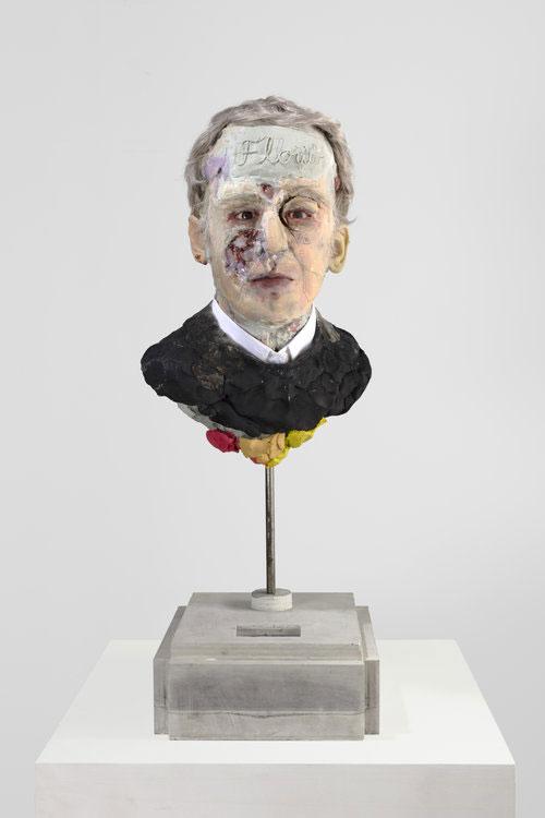 "David Altmejd ,  Man with Black Sweater , 2018, Urethane foam, concrete, epoxy clay, resin, epoxy gel, syntheric hair, steel, acrylic paint, quartz, graphite, glass paint, shir collar, glass eyes, copper wire bead, rhinestone, MSA varnish, 29"" x 10 ½"" x 12"" (73,7 x 26,7 x 30,5 cm)"