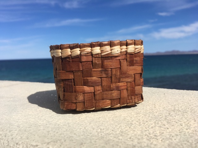 #3. Cedar Bark & Tule Rush Basket - Time: 6-8 hoursCost: $120.00 Includes materialsThis workshop will awaken your creative juices by connecting the beauty of working with natural wild materials. Students will learn about the historical value of the cedar bark and learn how to gather the bark and transform it into strips for weaving with the twill and twining techniques with the addition of tule rush to create a rectangular basket.