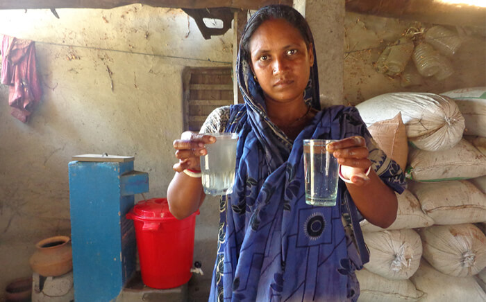 It's easy to see why our inexpensive home water filters are popular in SW Bangladesh. Before and after filtration.