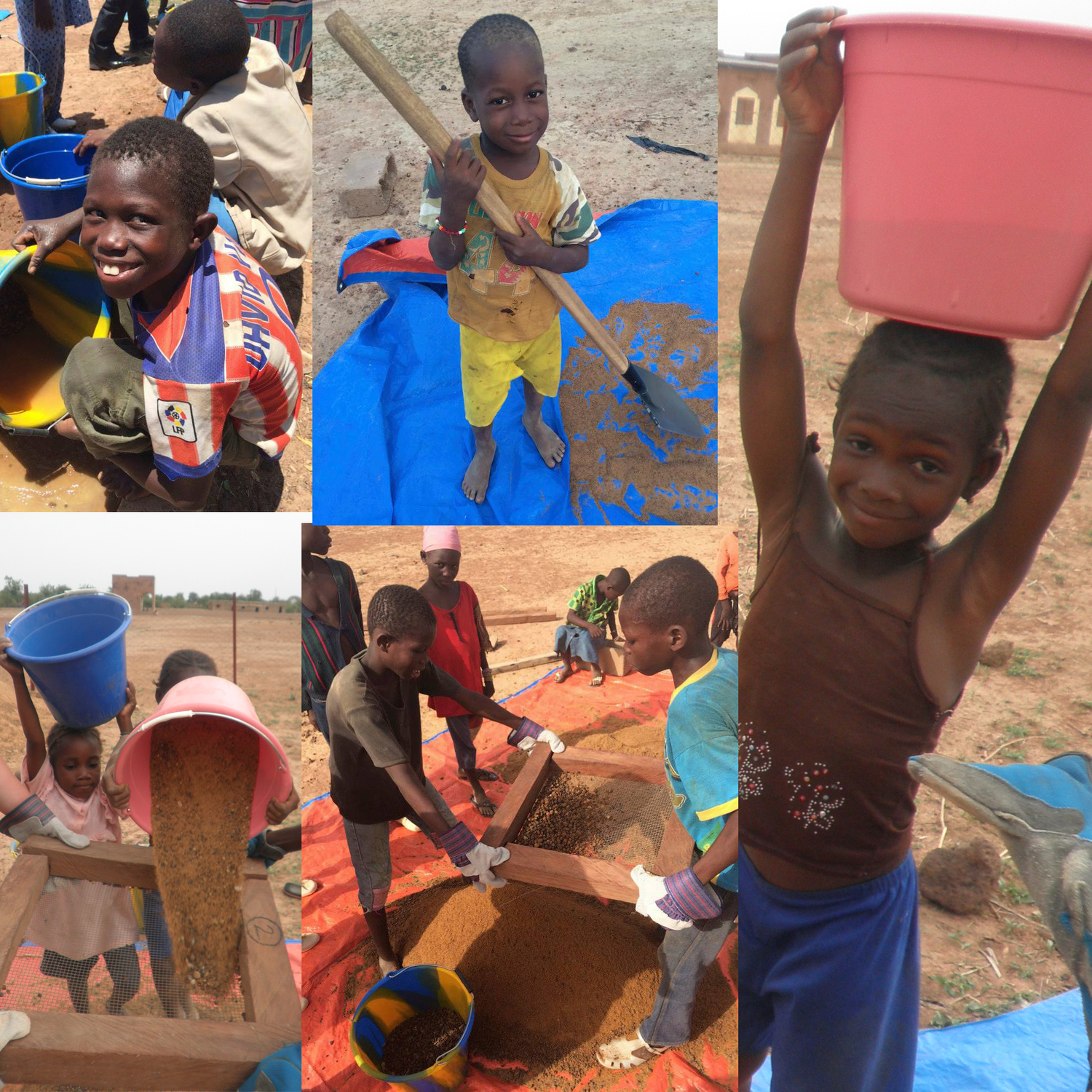 The whole community took part in the production of their BioSand Filters!The kids prepared the sand.