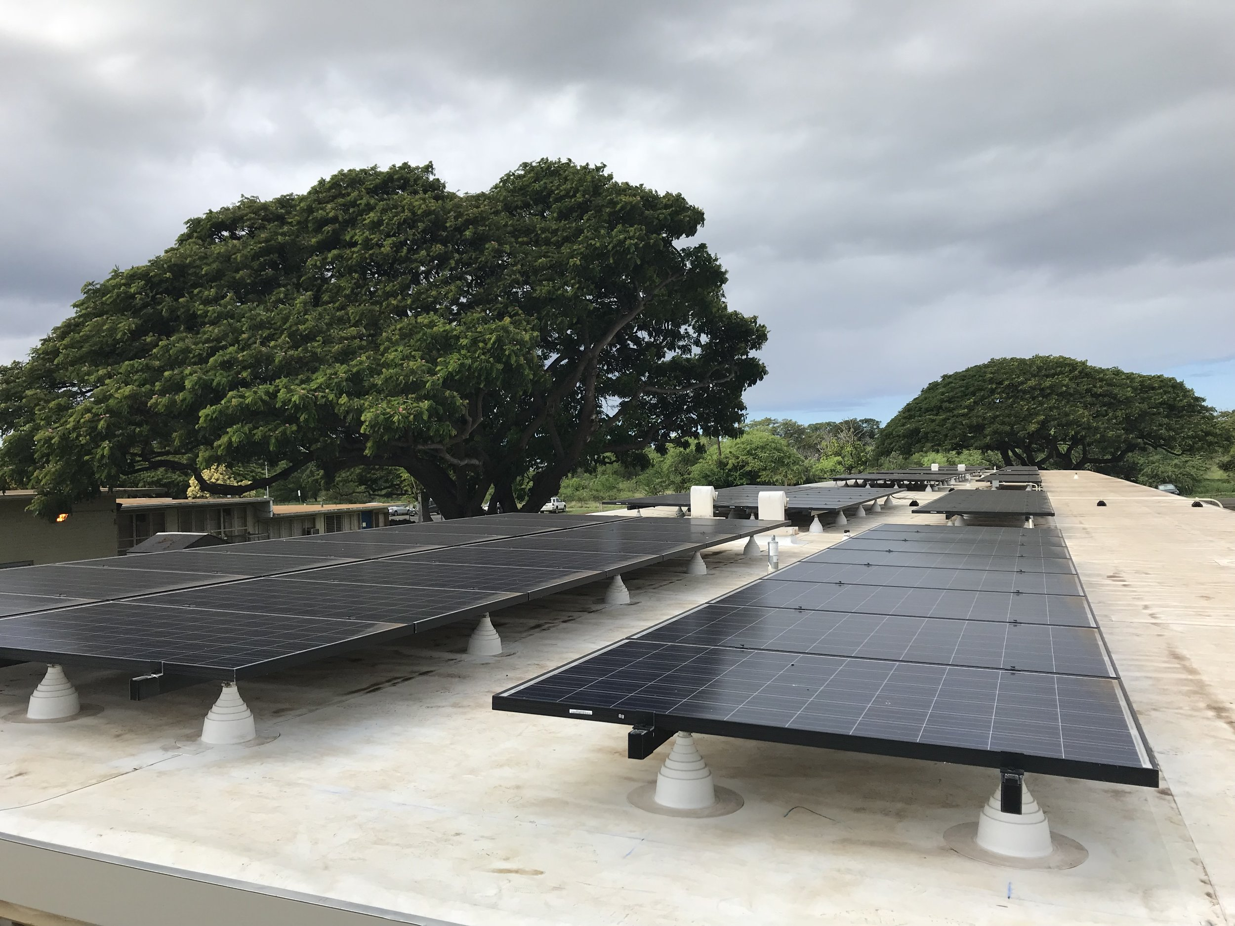 Barbers Point Elementary School (2017)   Off-grid air conditioning systems for the Hawaii DOE Cool the Schools Initiative using PV, Tesla Powerwall 2s for energy storage and Mitsubishi Split Air Conditioners.