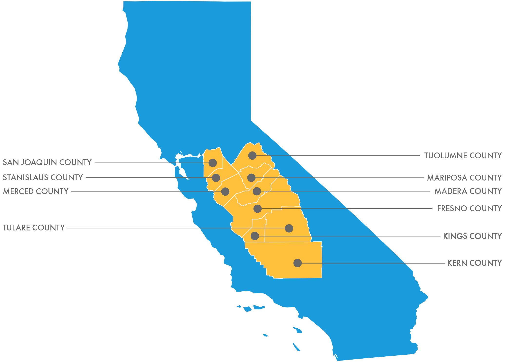 Map depicting the participating counties in the Central Valley.