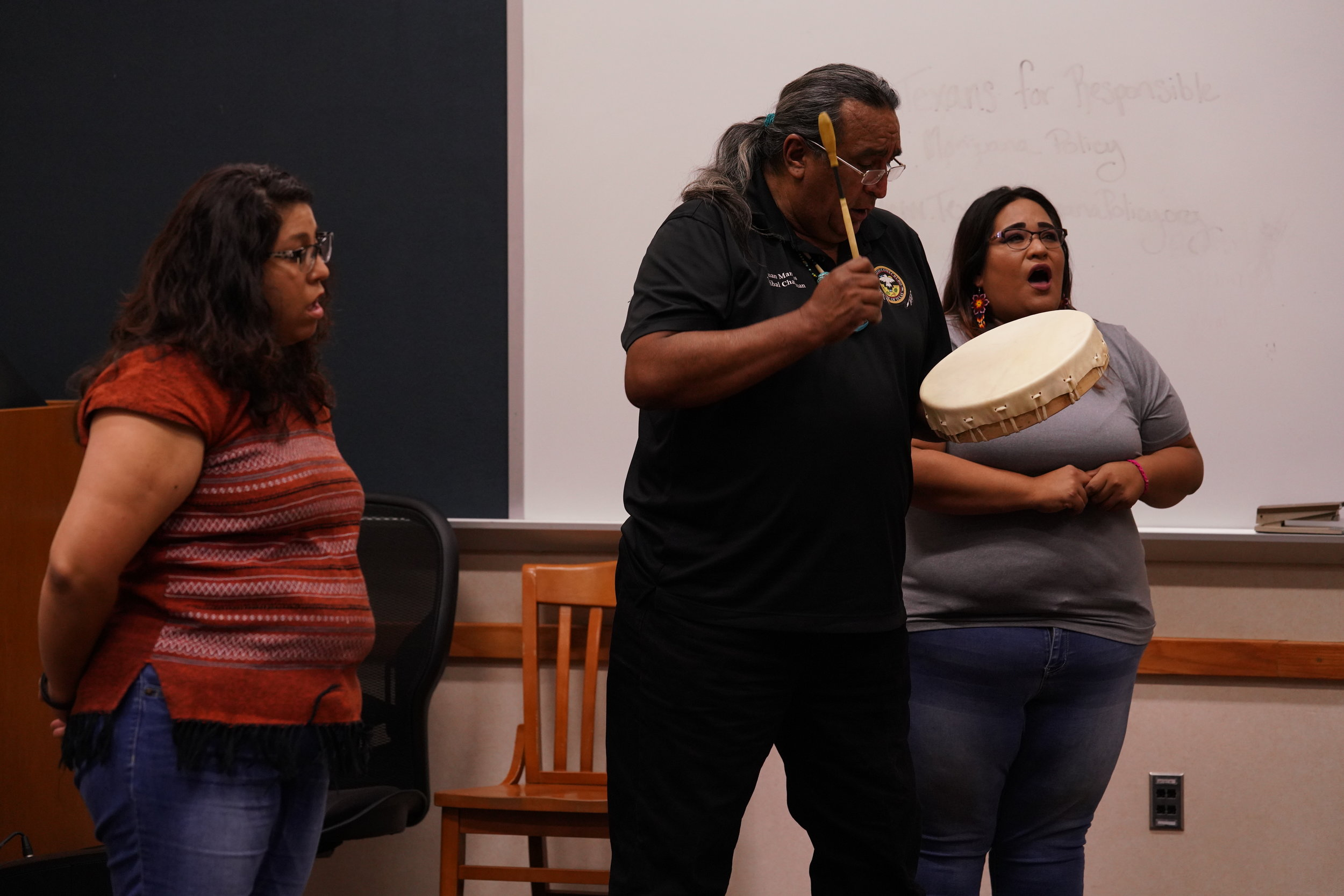 "Members of the Carizo Comecrudo Tribe Perform a Blessing and Song at the first Lecture/ Workshop ""History of the Land"" (Head Phase)"