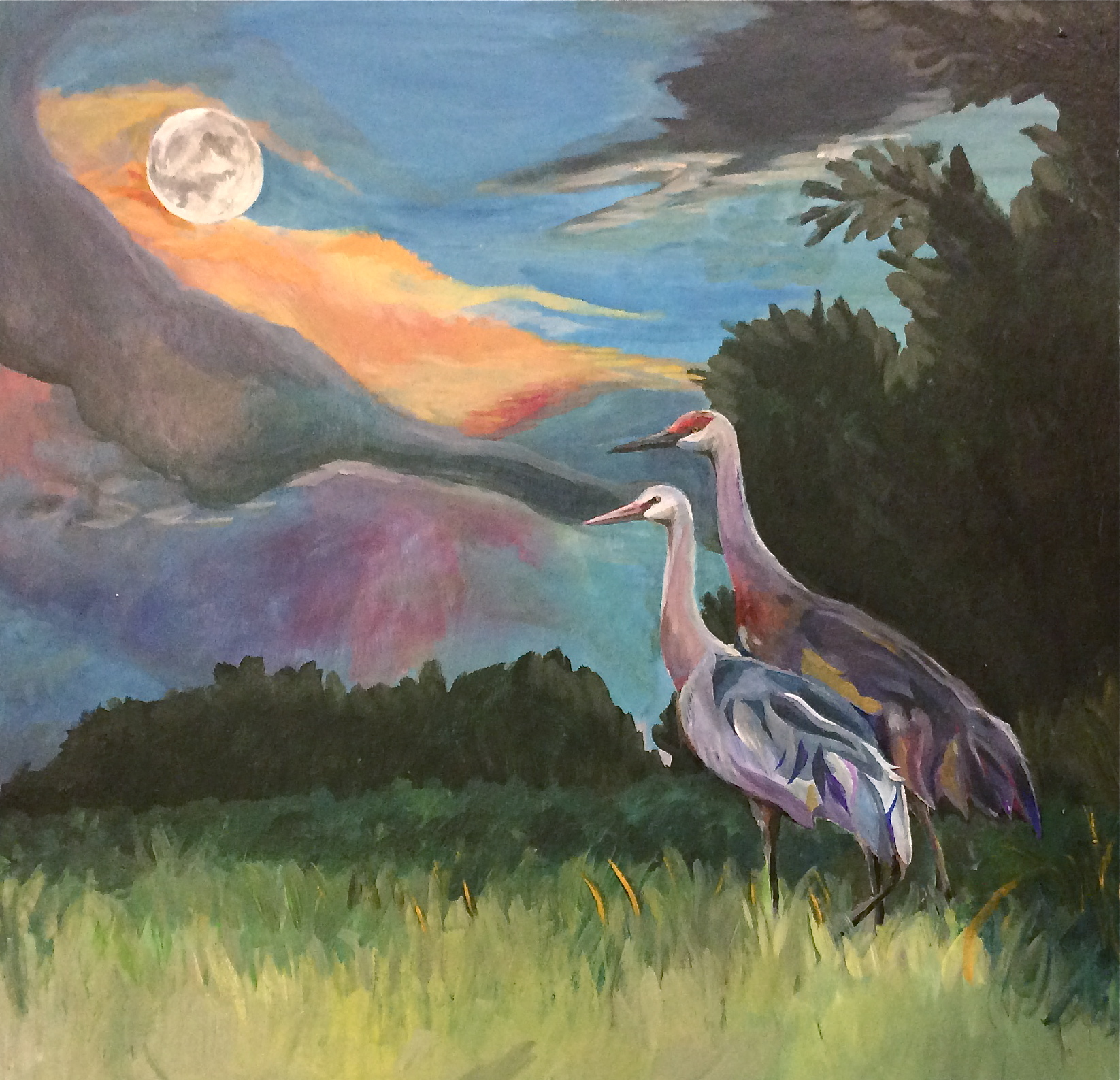 Sandhill cranes at dusk - 14 X 14.5acrylic paint on chipboard